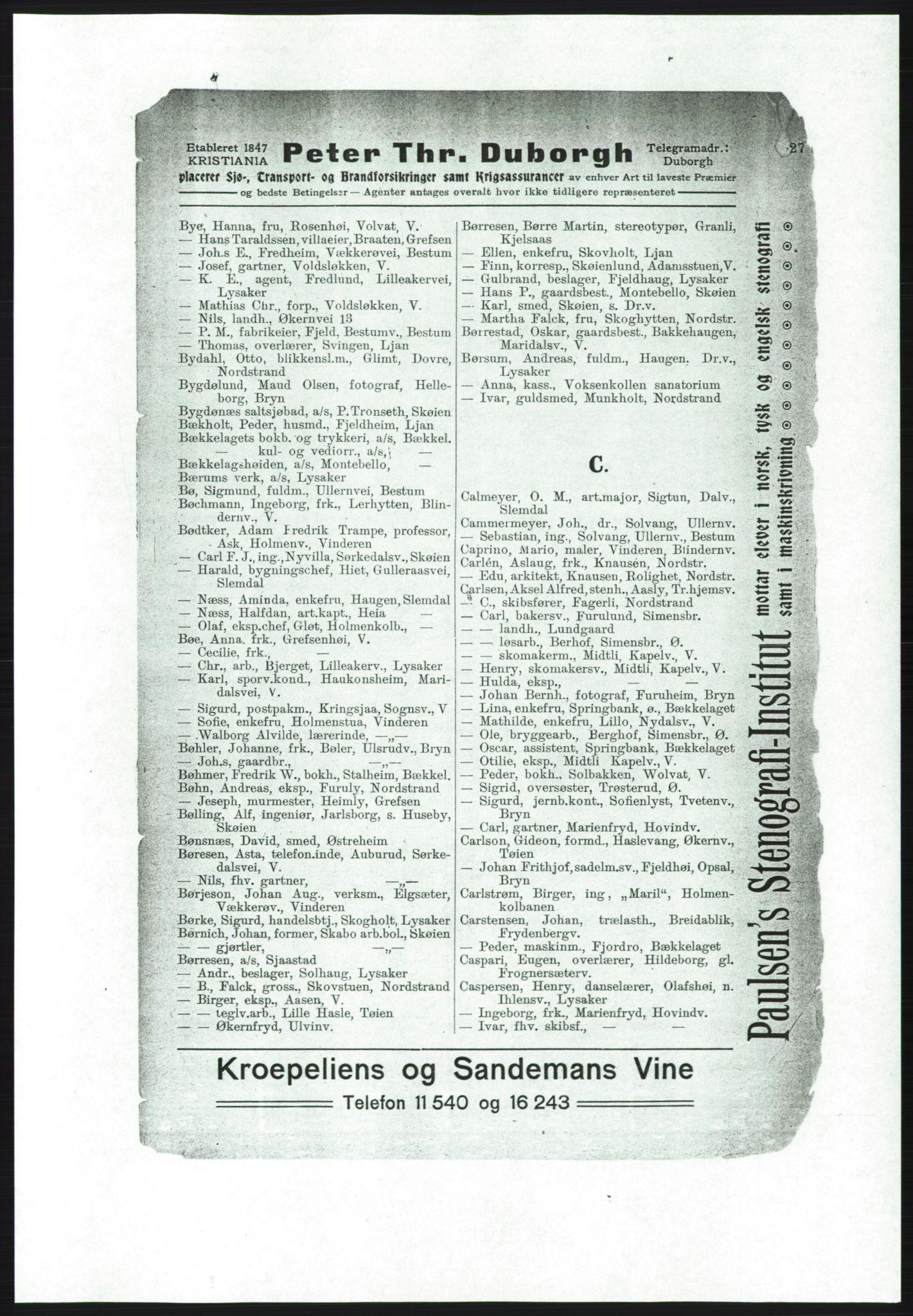 PUBL, Aker adressebok/adressekalender, 1916-1917, s. 27