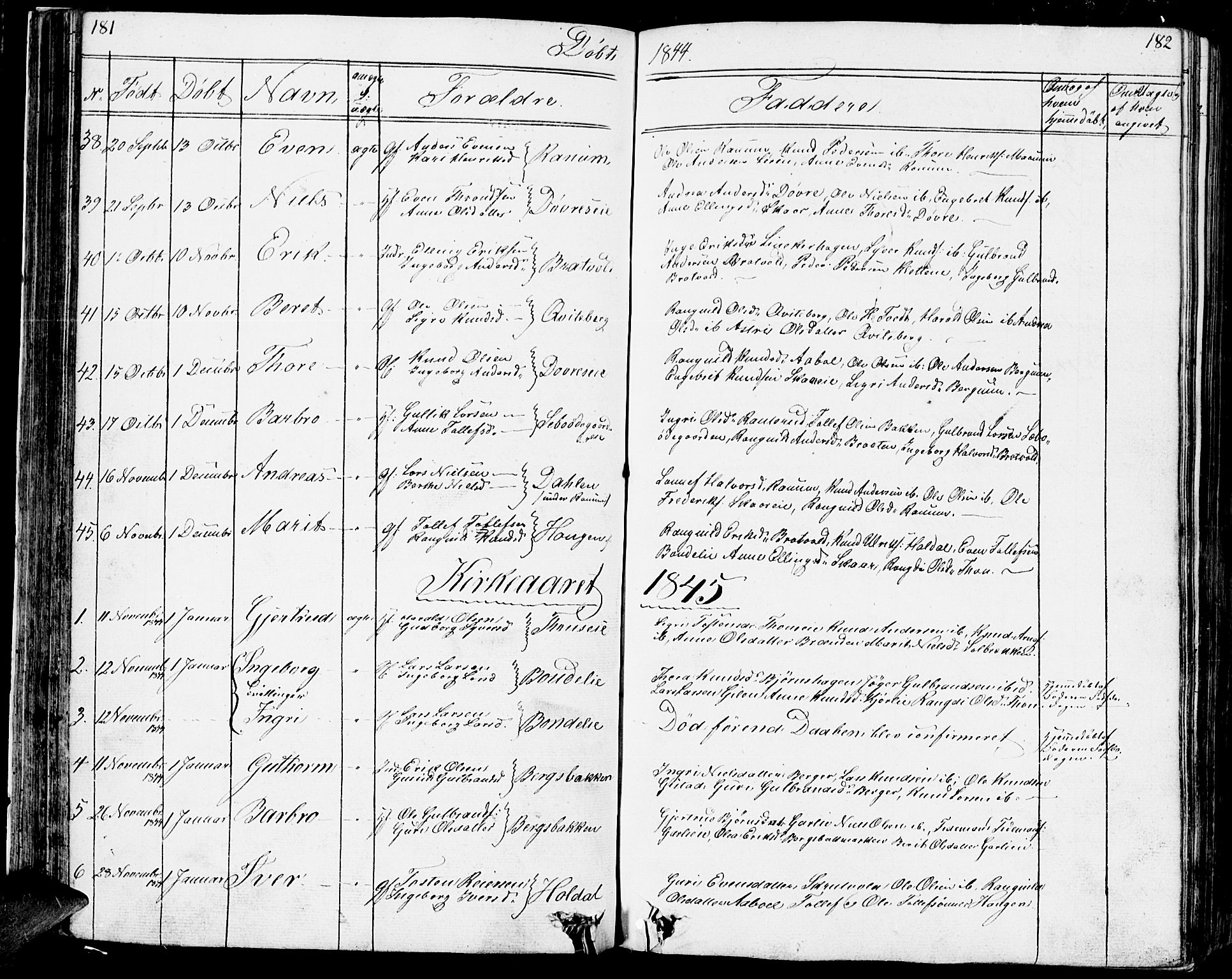 SAH, Nord-Aurdal prestekontor, Klokkerbok nr. 1, 1834-1887, s. 181-182