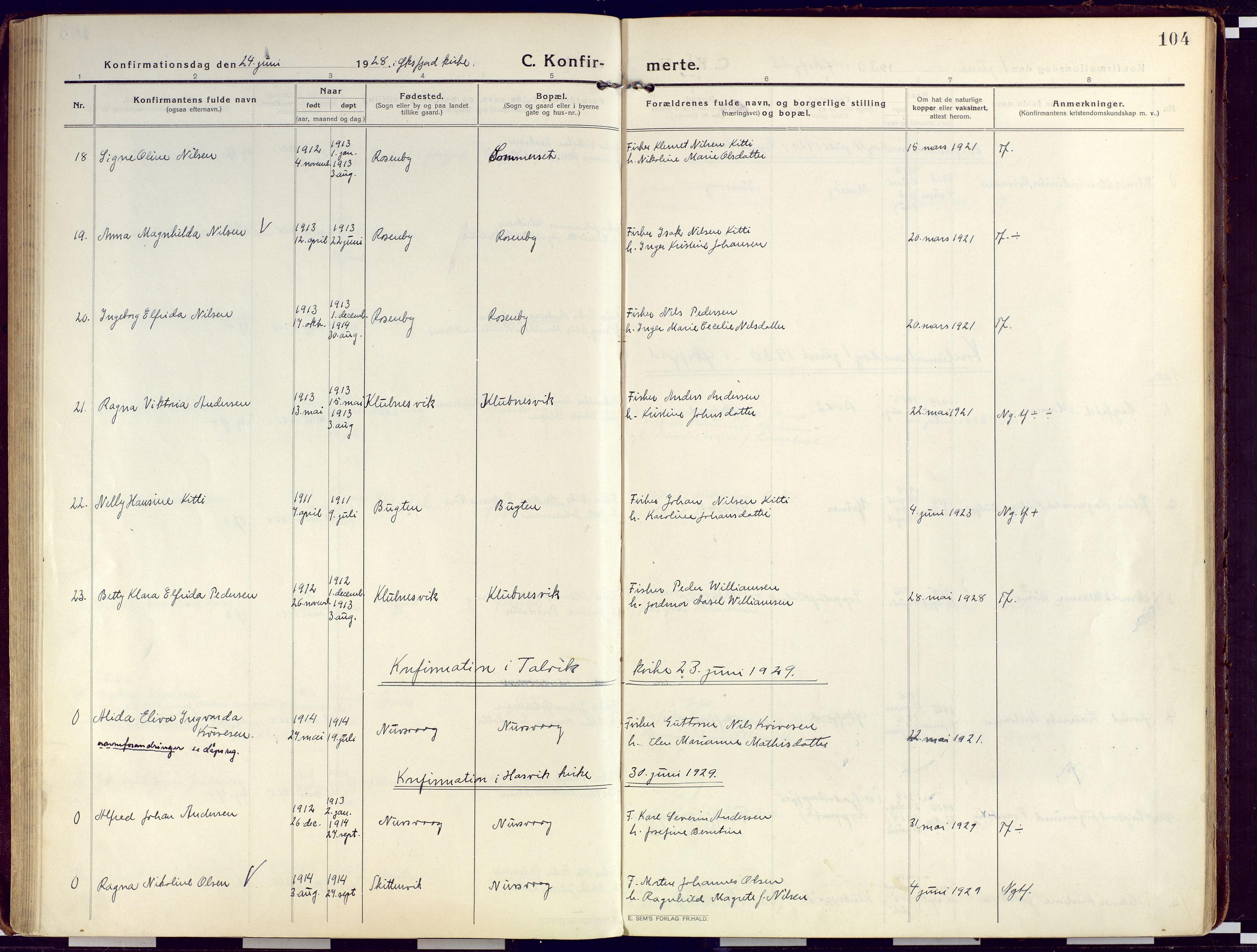 SATØ, Loppa sokneprestkontor, H/Ha/L0012kirke: Ministerialbok nr. 12, 1917-1932, s. 104