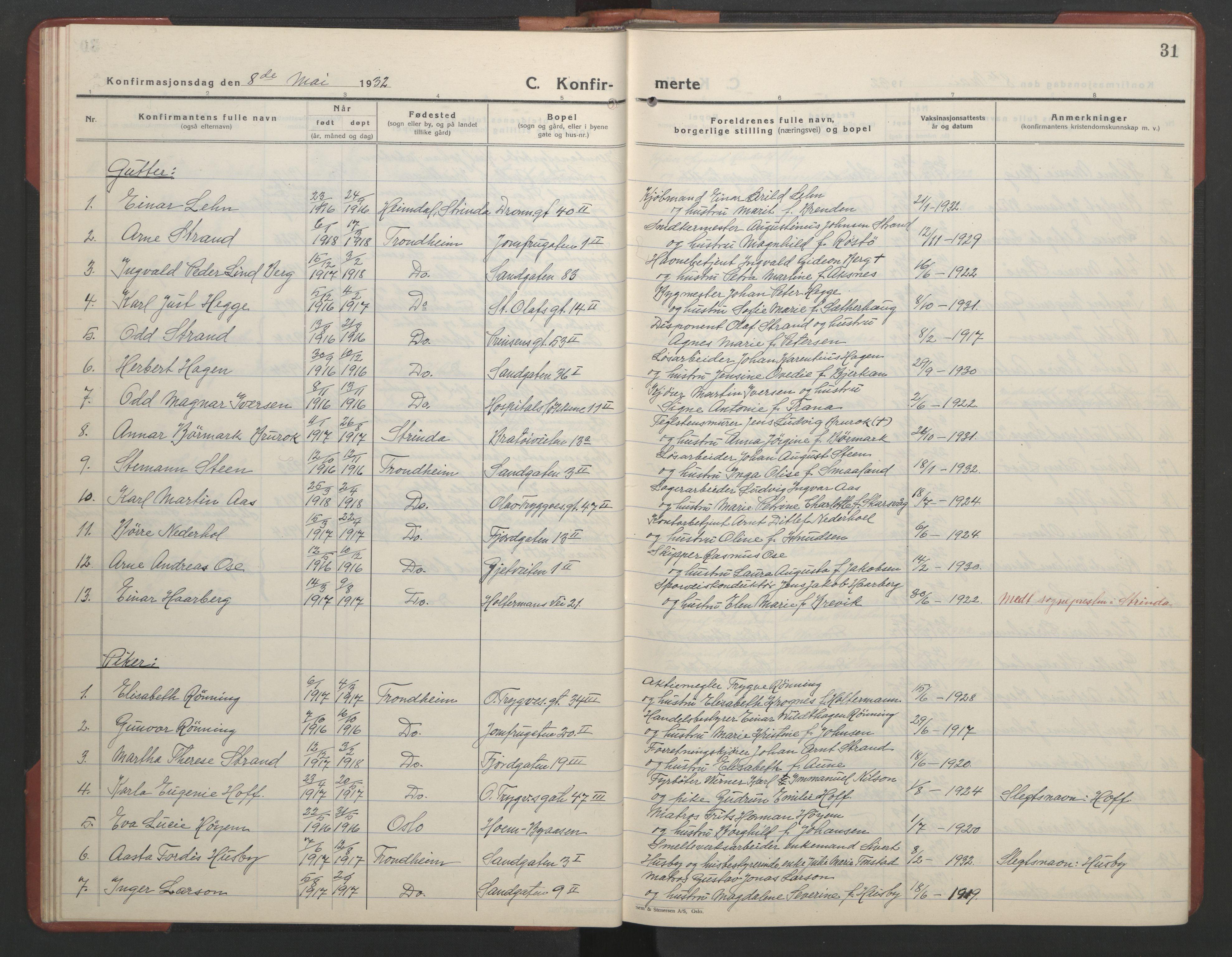 SAT, Ministerialprotokoller, klokkerbøker og fødselsregistre - Sør-Trøndelag, 602/L0151: Klokkerbok nr. 602C19, 1925-1951, s. 31