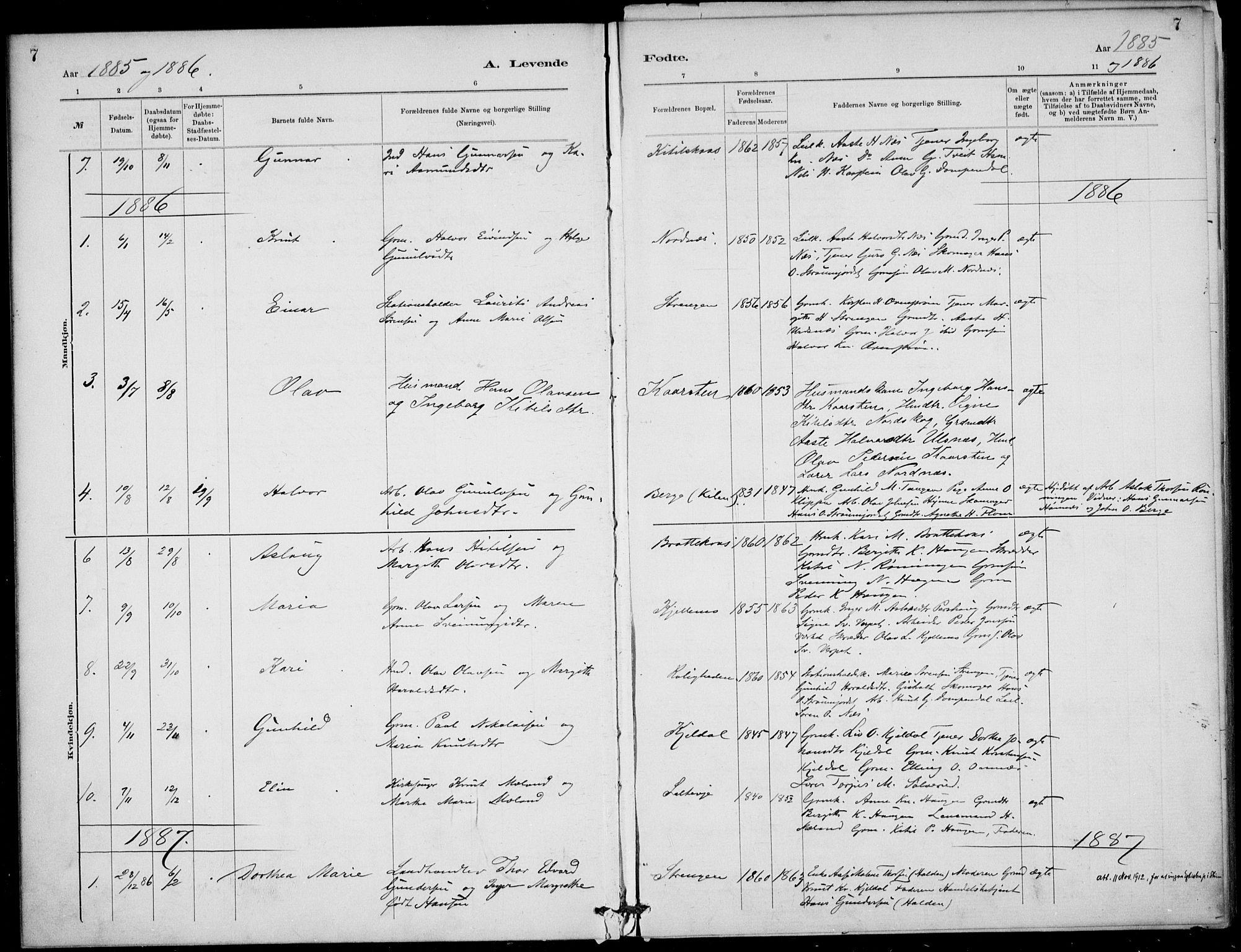 SAKO, Lunde kirkebøker, F/Fb/L0003: Ministerialbok nr. II 3, 1882-1891, s. 7