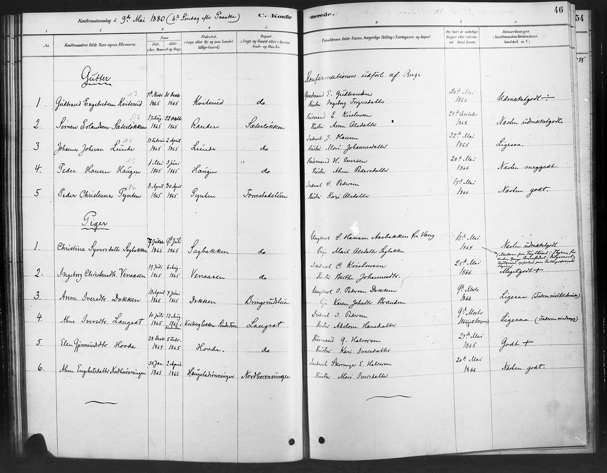 SAH, Ringebu prestekontor, Ministerialbok nr. 10, 1878-1898, s. 46
