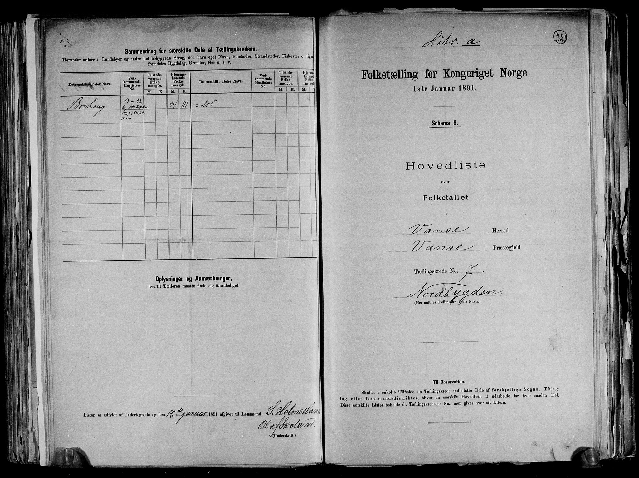 RA, Folketelling 1891 for 1041 Vanse herred, 1891, s. 28