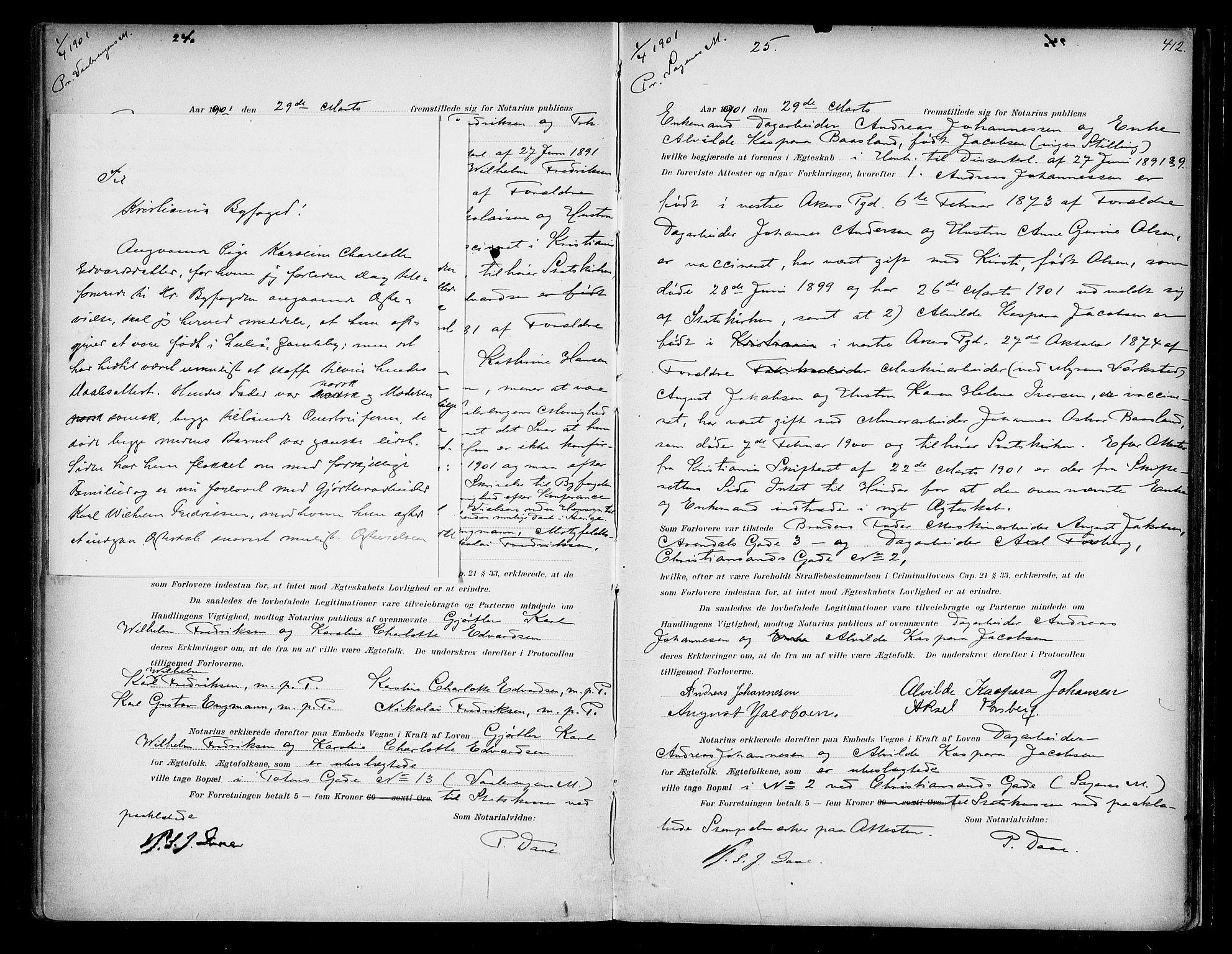 SAO, Oslo byfogd avd. I, L/Lb/Lbb/L0004: Notarialprotokoll, rekke II: Vigsler, 1897-1902, s. 411b-412a