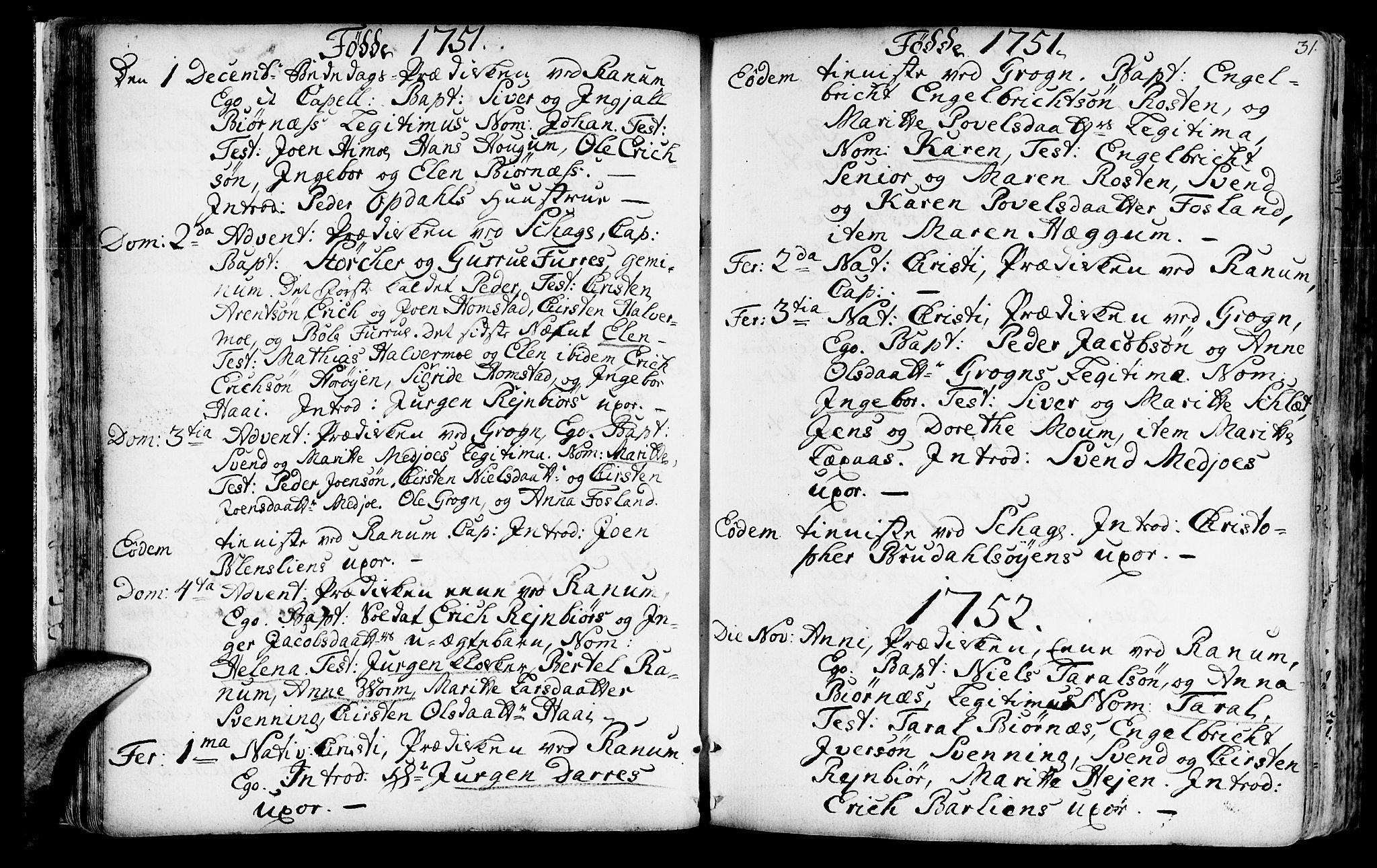 SAT, Ministerialprotokoller, klokkerbøker og fødselsregistre - Nord-Trøndelag, 764/L0542: Ministerialbok nr. 764A02, 1748-1779, s. 31