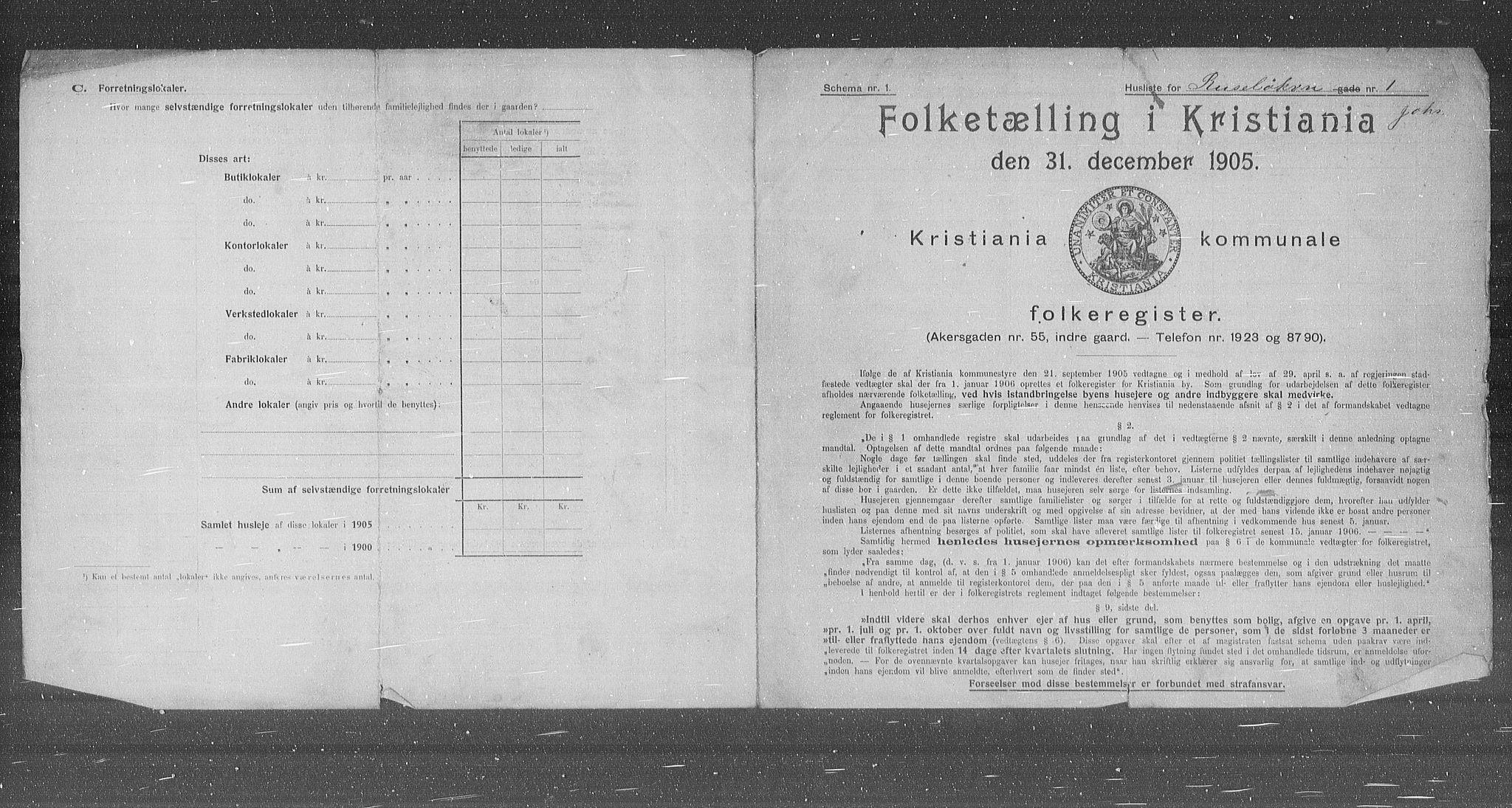 OBA, Kommunal folketelling 1905 for Kristiania kjøpstad, 1905, s. 44623