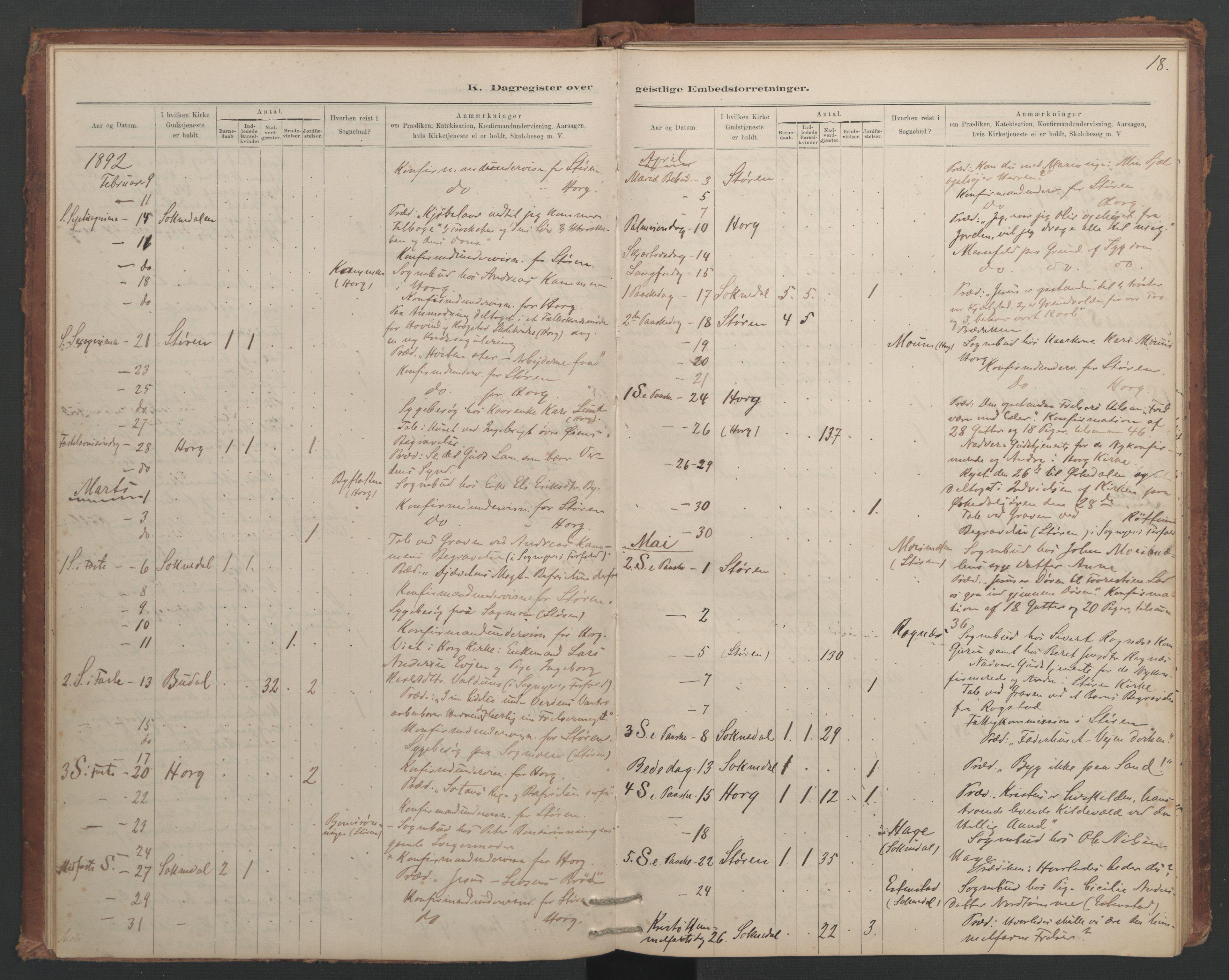 SAT, Ministerialprotokoller, klokkerbøker og fødselsregistre - Sør-Trøndelag, 687/L1012: Dagregister nr. 687B01, 1887-1914, s. 18