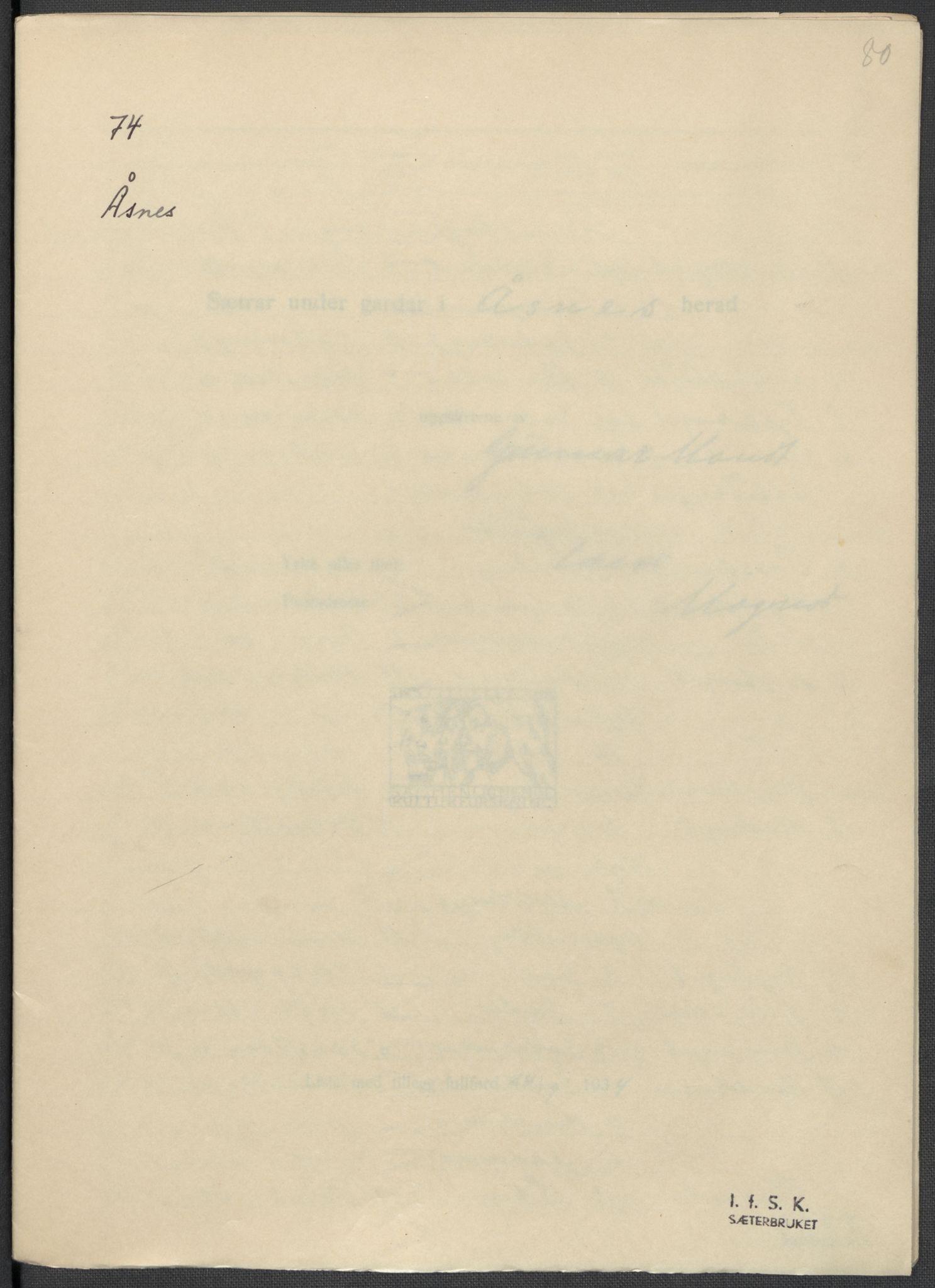 RA, Instituttet for sammenlignende kulturforskning, F/Fc/L0003: Eske B3:, 1934-1935, s. 80