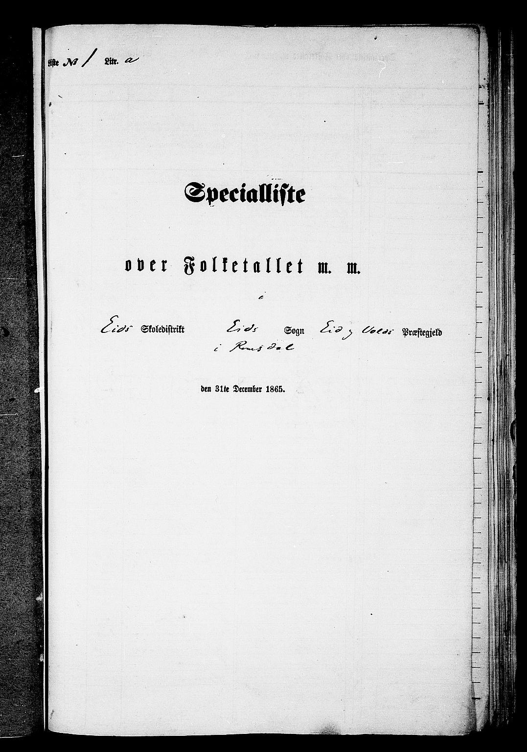 RA, Folketelling 1865 for 1537P Eid og Vold prestegjeld, 1865, s. 6