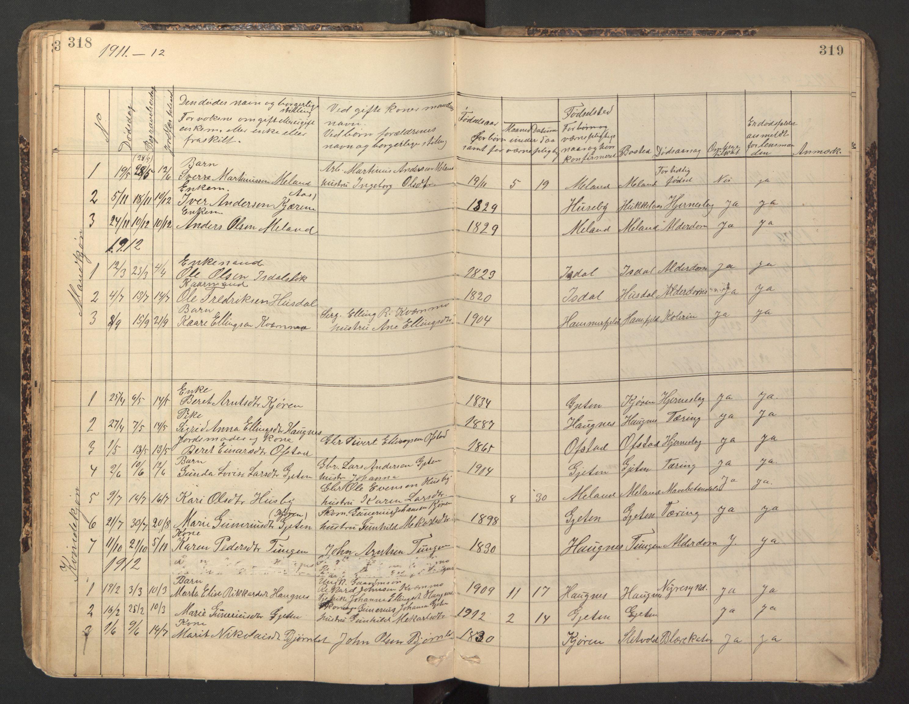SAT, Ministerialprotokoller, klokkerbøker og fødselsregistre - Sør-Trøndelag, 670/L0837: Klokkerbok nr. 670C01, 1905-1946, s. 318-319