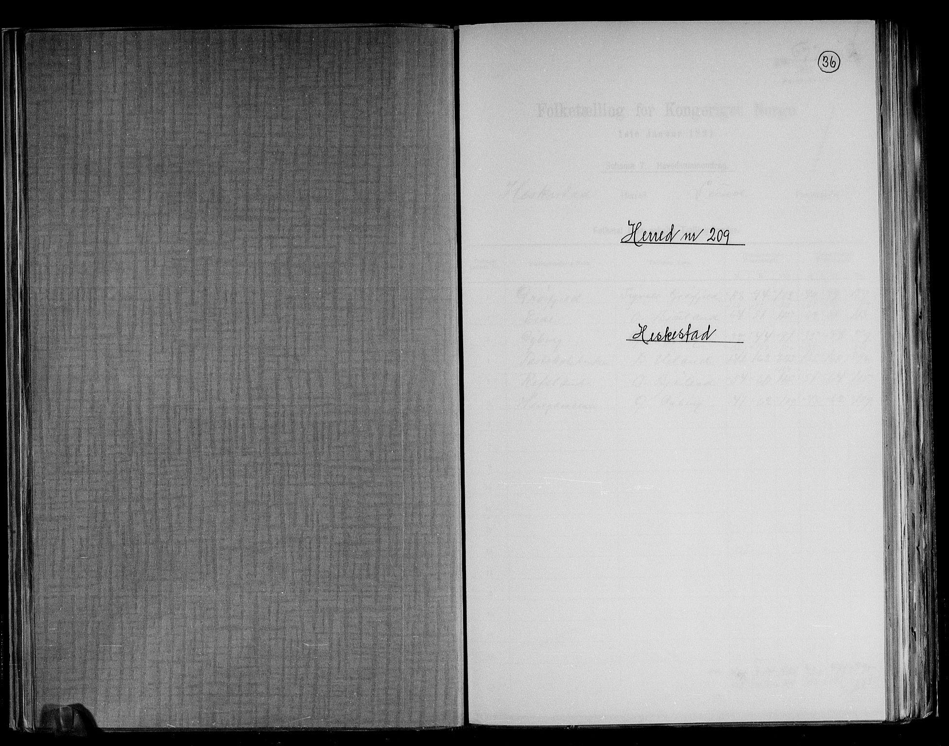 RA, Folketelling 1891 for 1113 Heskestad herred, 1891, s. 1