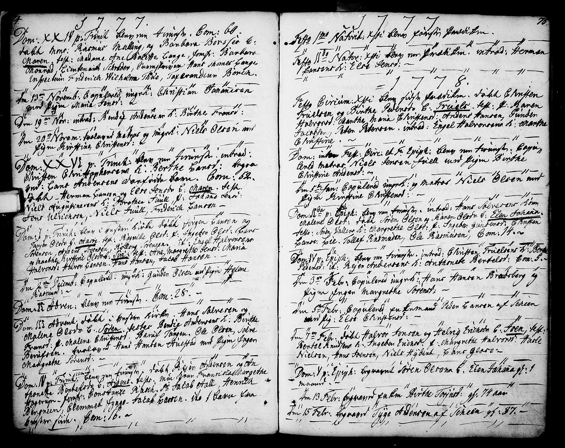 SAKO, Porsgrunn kirkebøker , F/Fa/L0002: Ministerialbok nr. 2, 1764-1814, s. 74-75