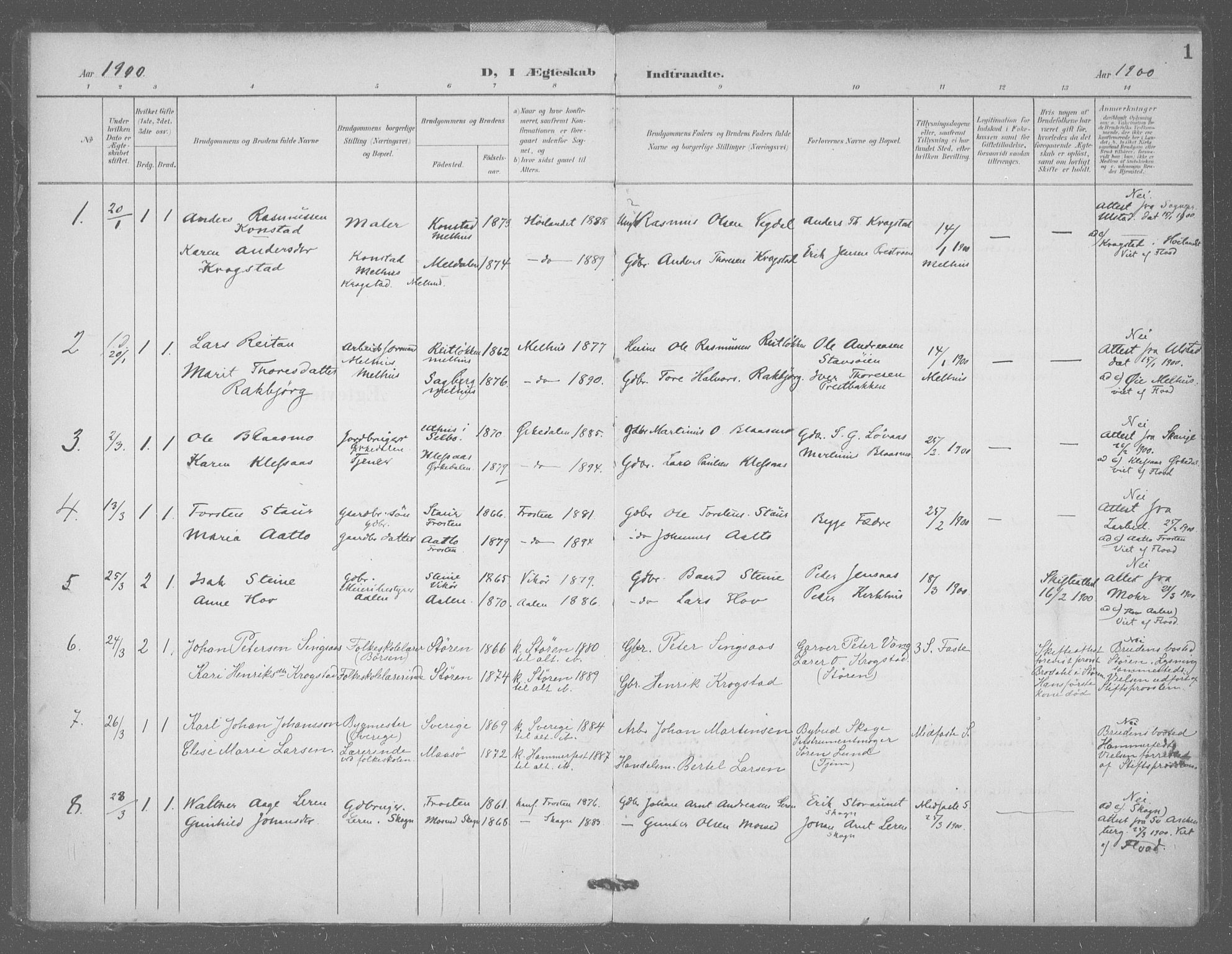 SAT, Ministerialprotokoller, klokkerbøker og fødselsregistre - Sør-Trøndelag, 601/L0077: Residerende kapellans bok nr. 601B10, 1900-1907, s. 1