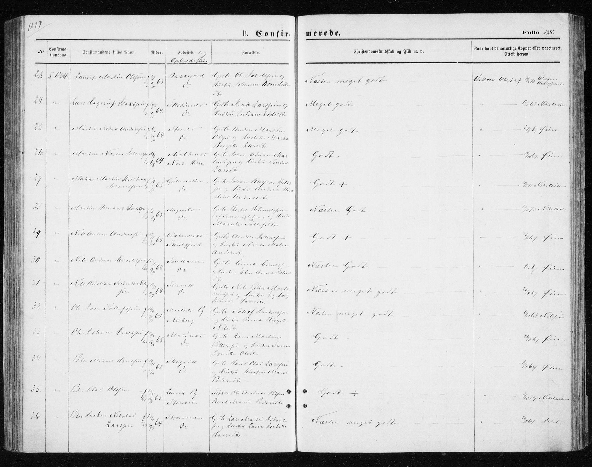 SATØ, Tromsøysund sokneprestkontor, G/Ga/L0003kirke: Ministerialbok nr. 3, 1875-1880, s. 128