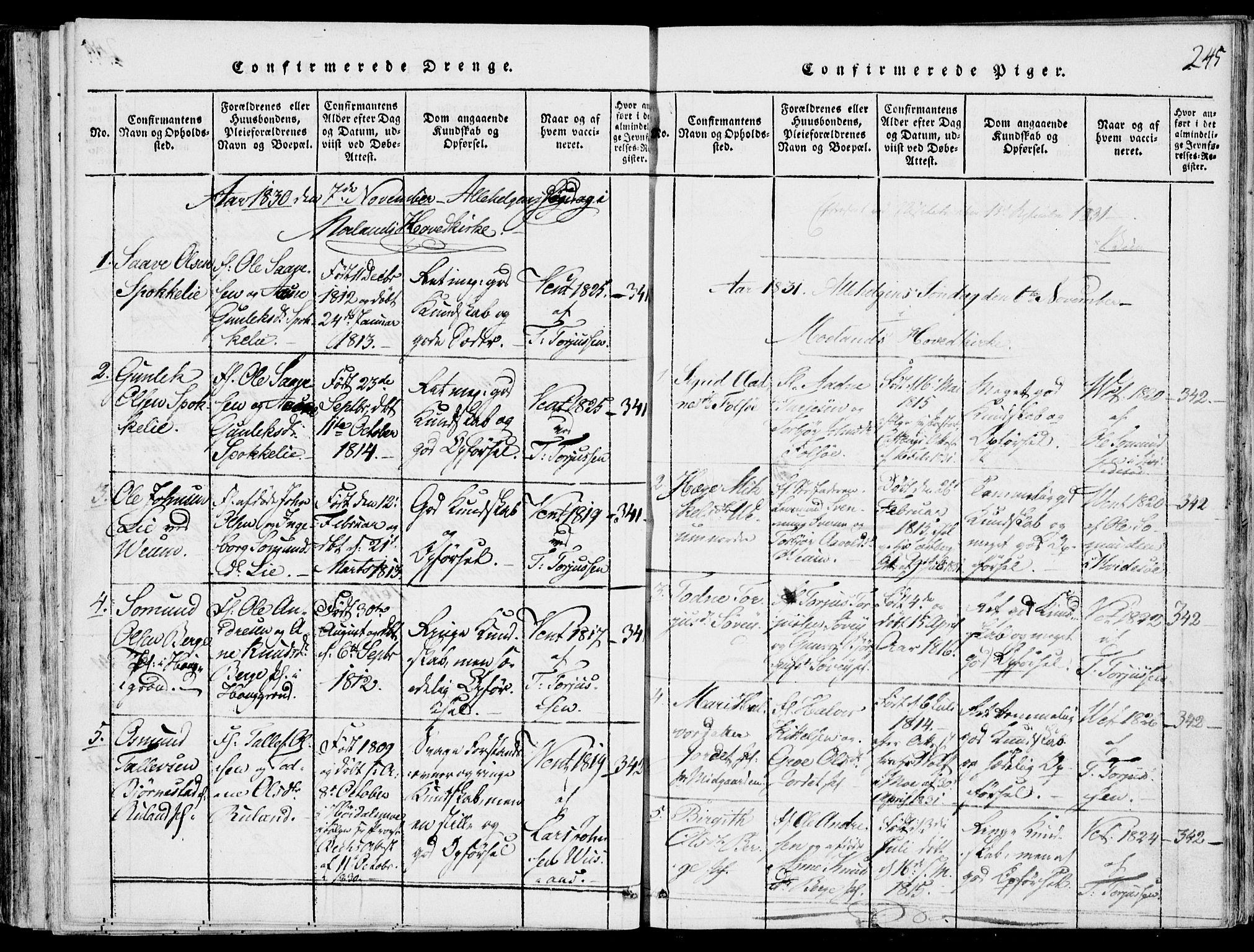 SAKO, Fyresdal kirkebøker, F/Fb/L0001: Ministerialbok nr. II 1, 1815-1854, s. 245