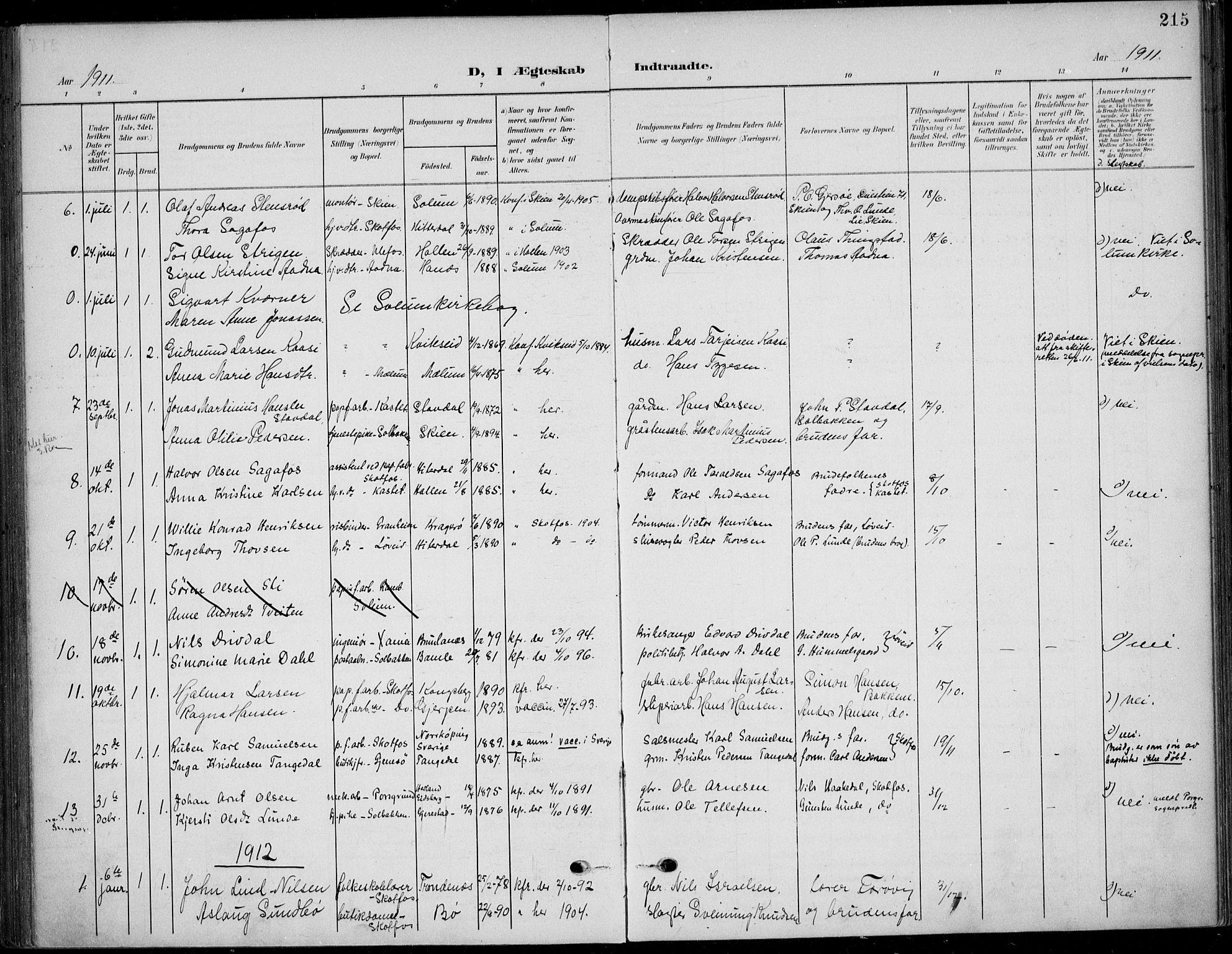 SAKO, Solum kirkebøker, F/Fb/L0003: Ministerialbok nr. II 3, 1901-1912, s. 215