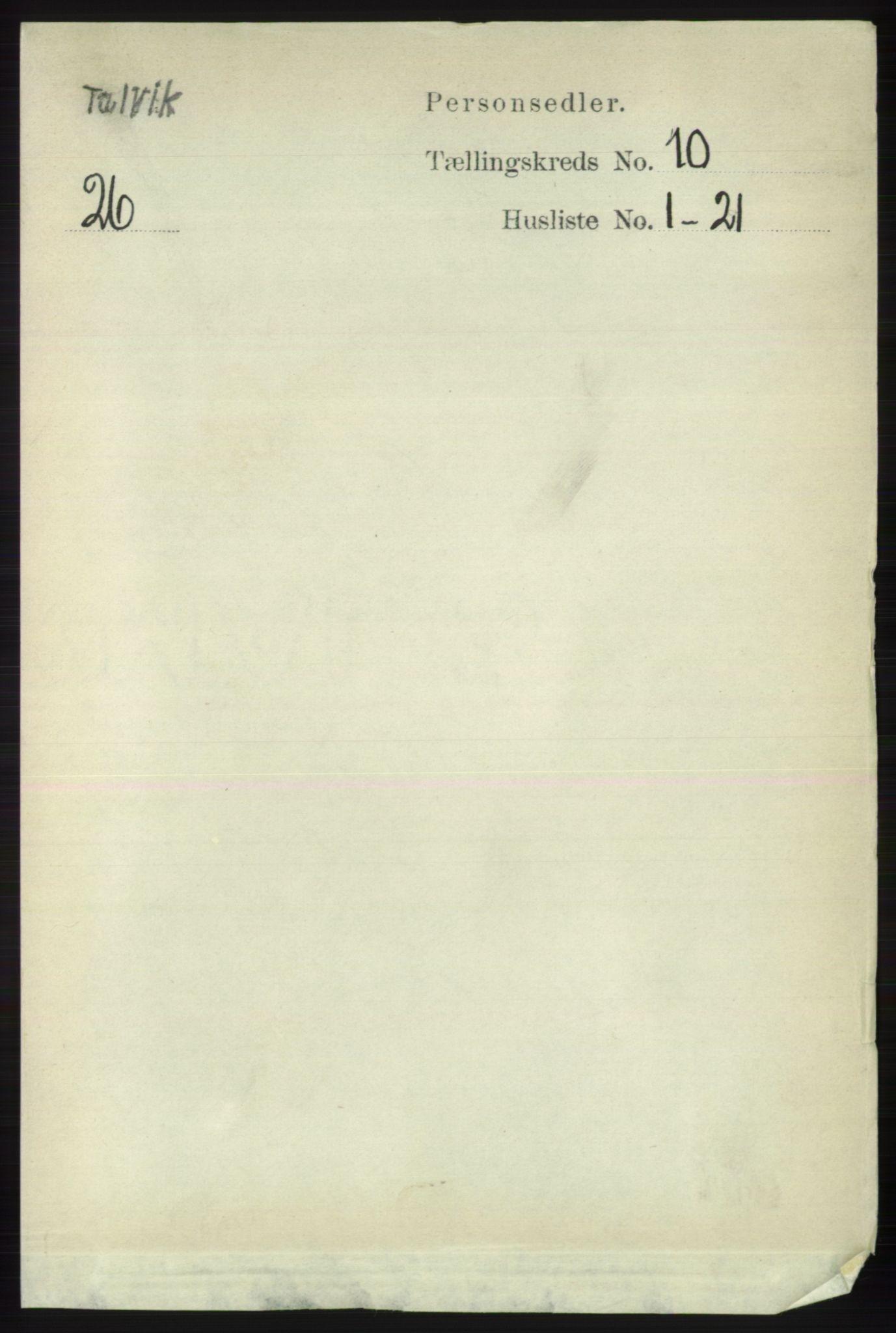 RA, Folketelling 1891 for 2013 Talvik herred, 1891, s. 2334