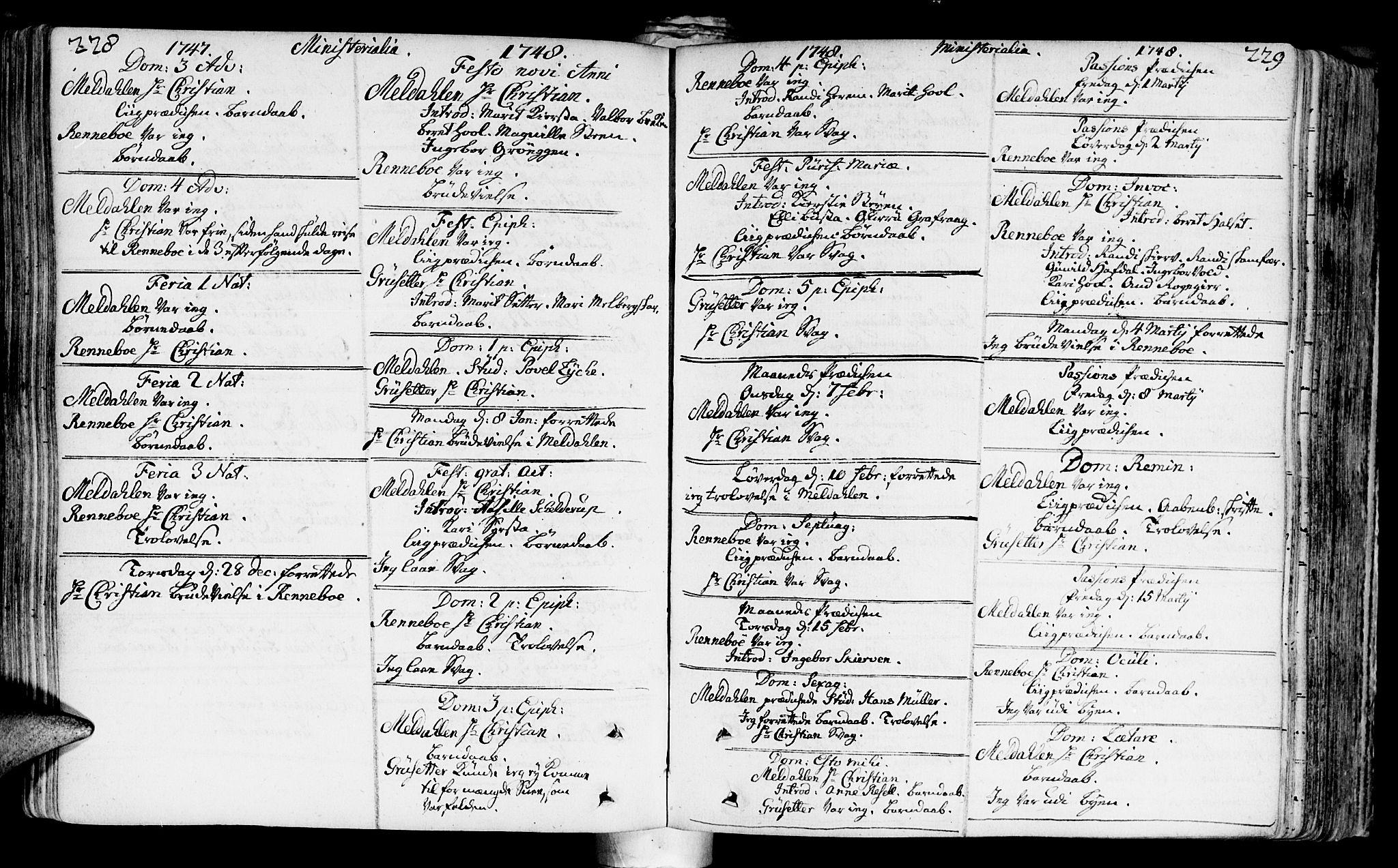 SAT, Ministerialprotokoller, klokkerbøker og fødselsregistre - Sør-Trøndelag, 672/L0850: Ministerialbok nr. 672A03, 1725-1751, s. 228-229
