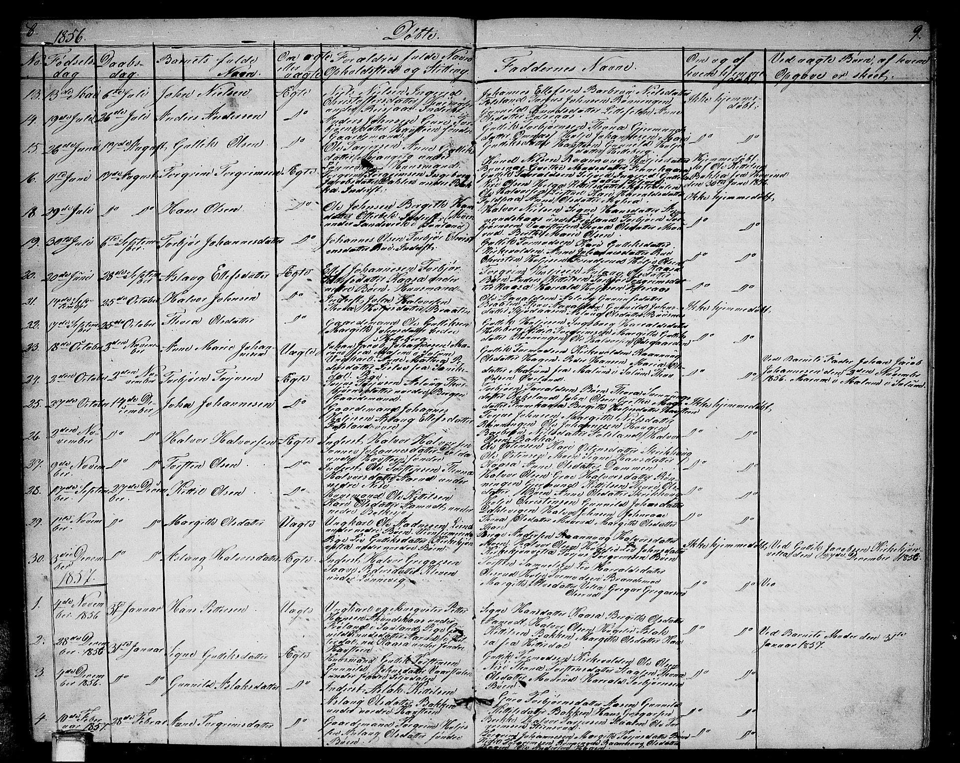 SAKO, Gransherad kirkebøker, G/Ga/L0002: Klokkerbok nr. I 2, 1854-1886, s. 8-9