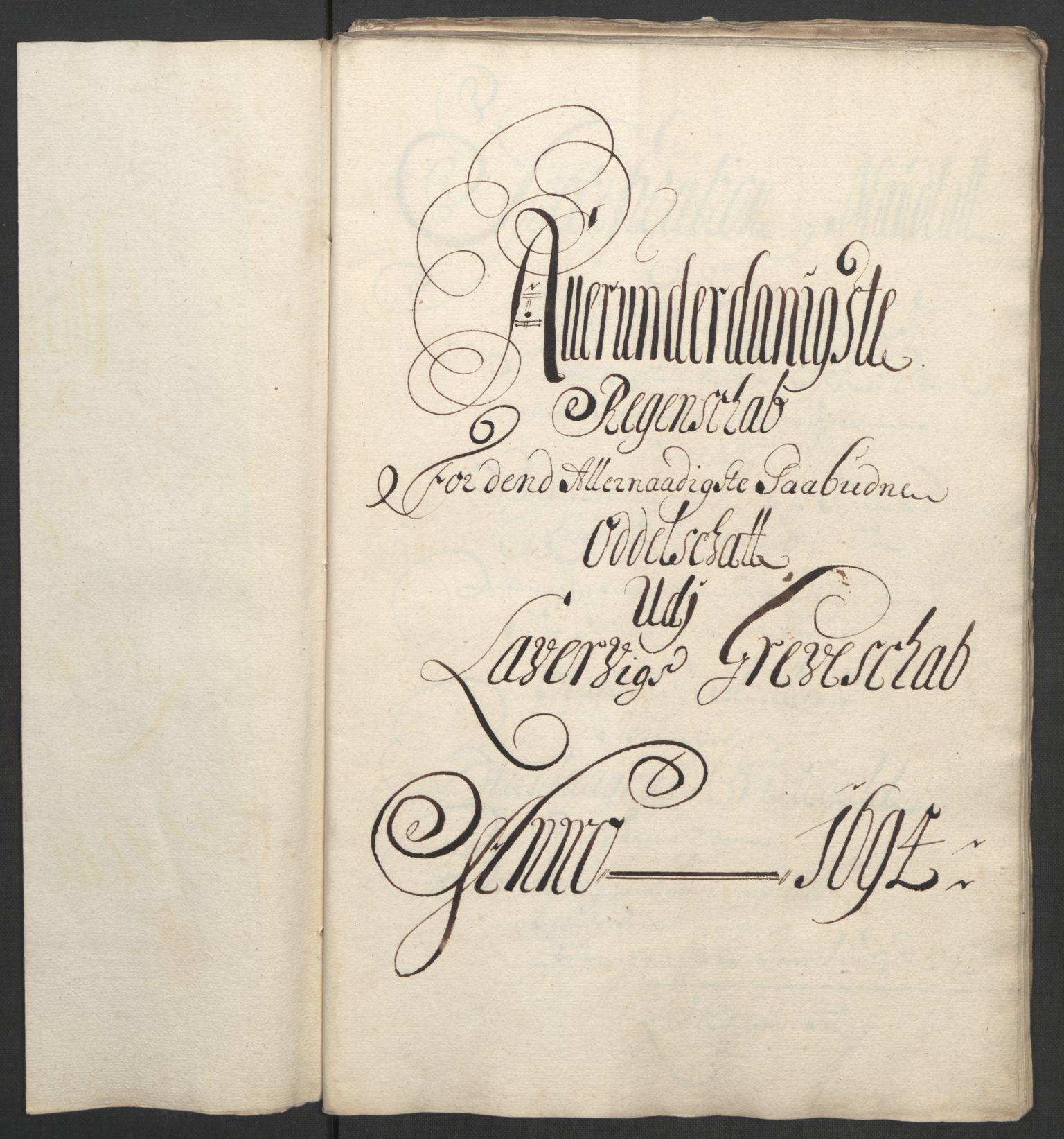 RA, Rentekammeret inntil 1814, Reviderte regnskaper, Fogderegnskap, R33/L1974: Fogderegnskap Larvik grevskap, 1693-1695, s. 88