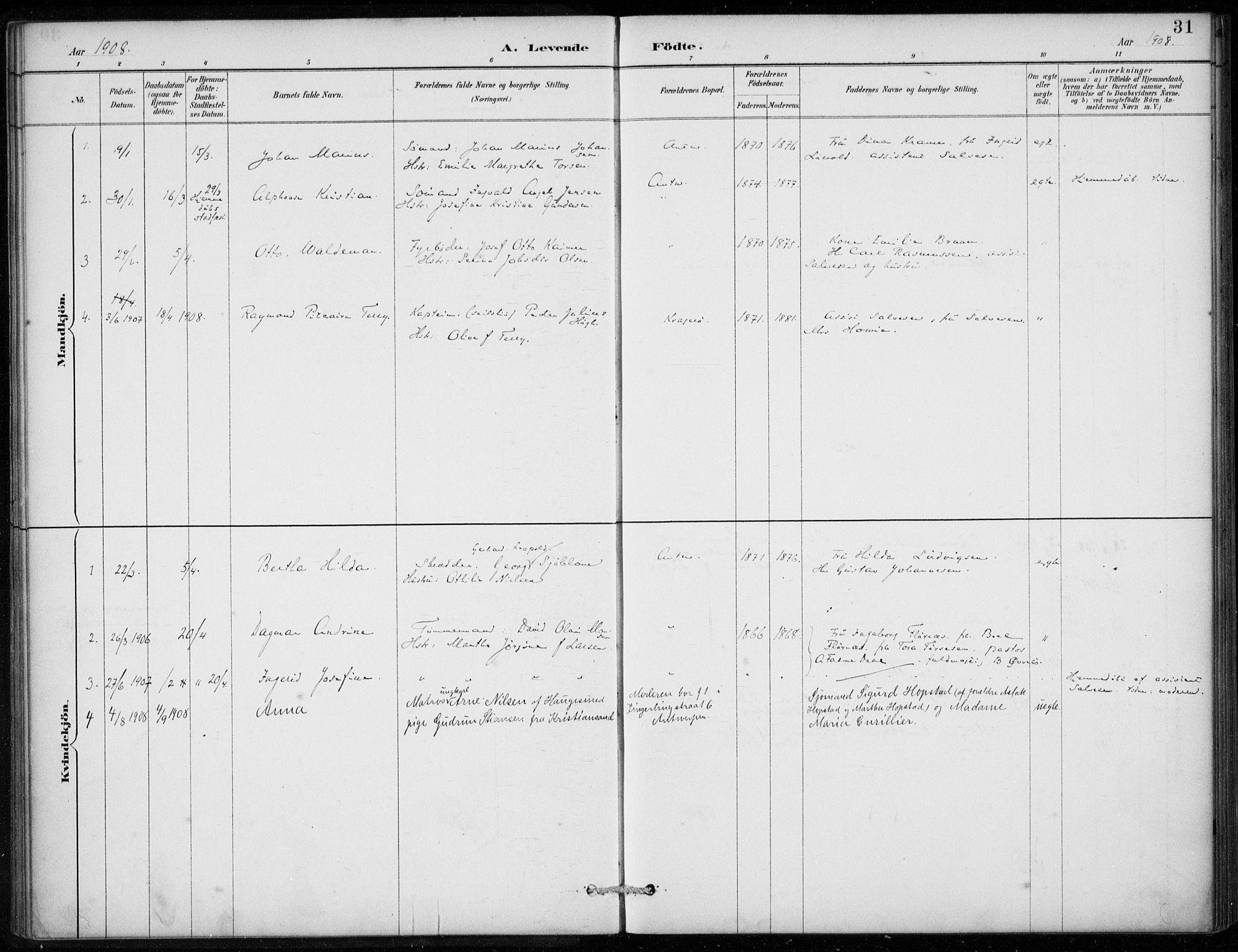 SAB, Den Norske Sjømannsmisjon i utlandet*, Ministerialbok nr. A 2, 1887-1913, s. 31