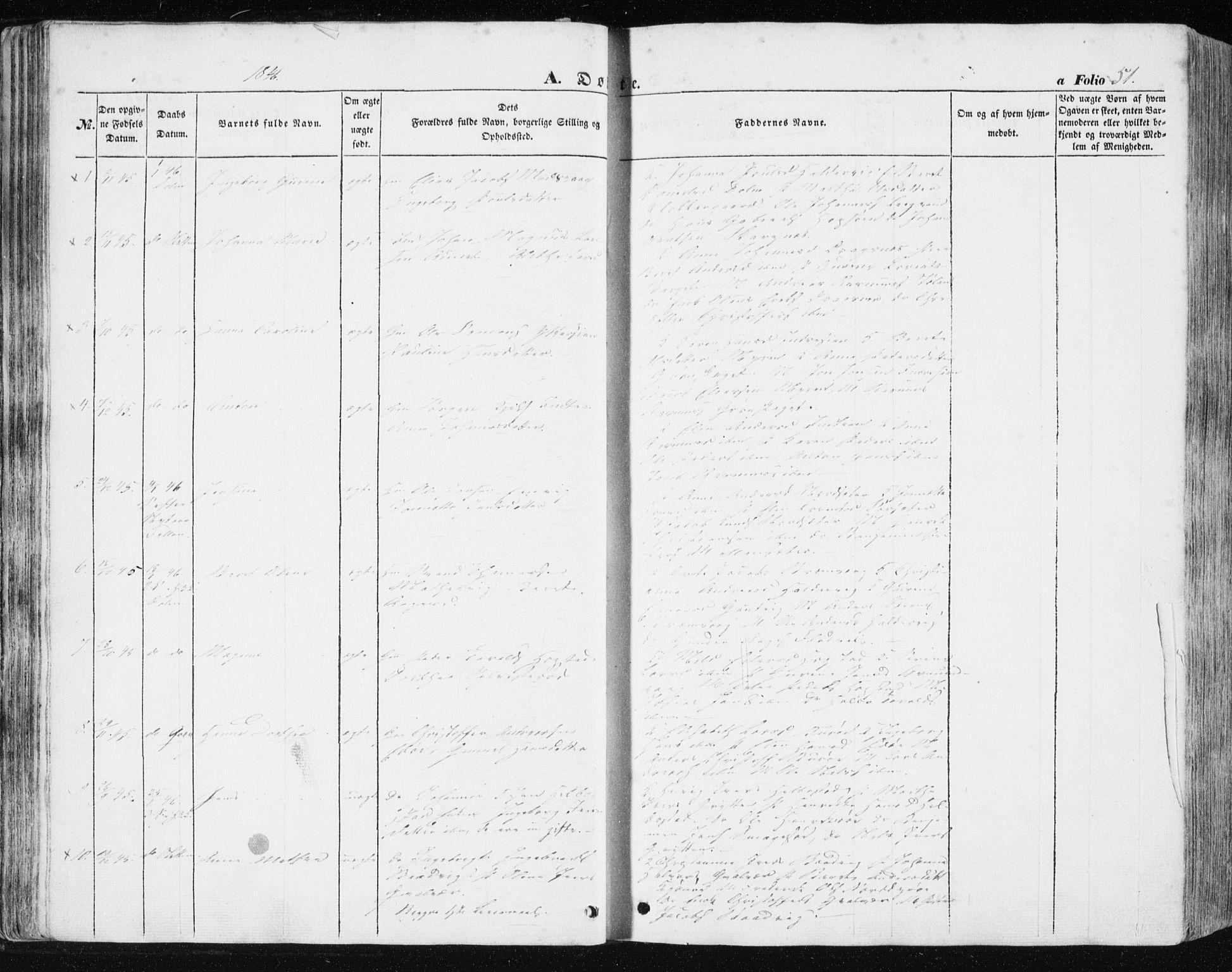 SAT, Ministerialprotokoller, klokkerbøker og fødselsregistre - Sør-Trøndelag, 634/L0529: Ministerialbok nr. 634A05, 1843-1851, s. 51