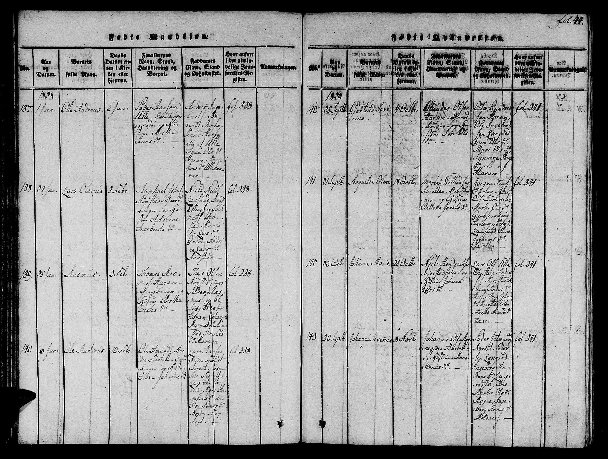 SAT, Ministerialprotokoller, klokkerbøker og fødselsregistre - Møre og Romsdal, 536/L0495: Ministerialbok nr. 536A04, 1818-1847, s. 44