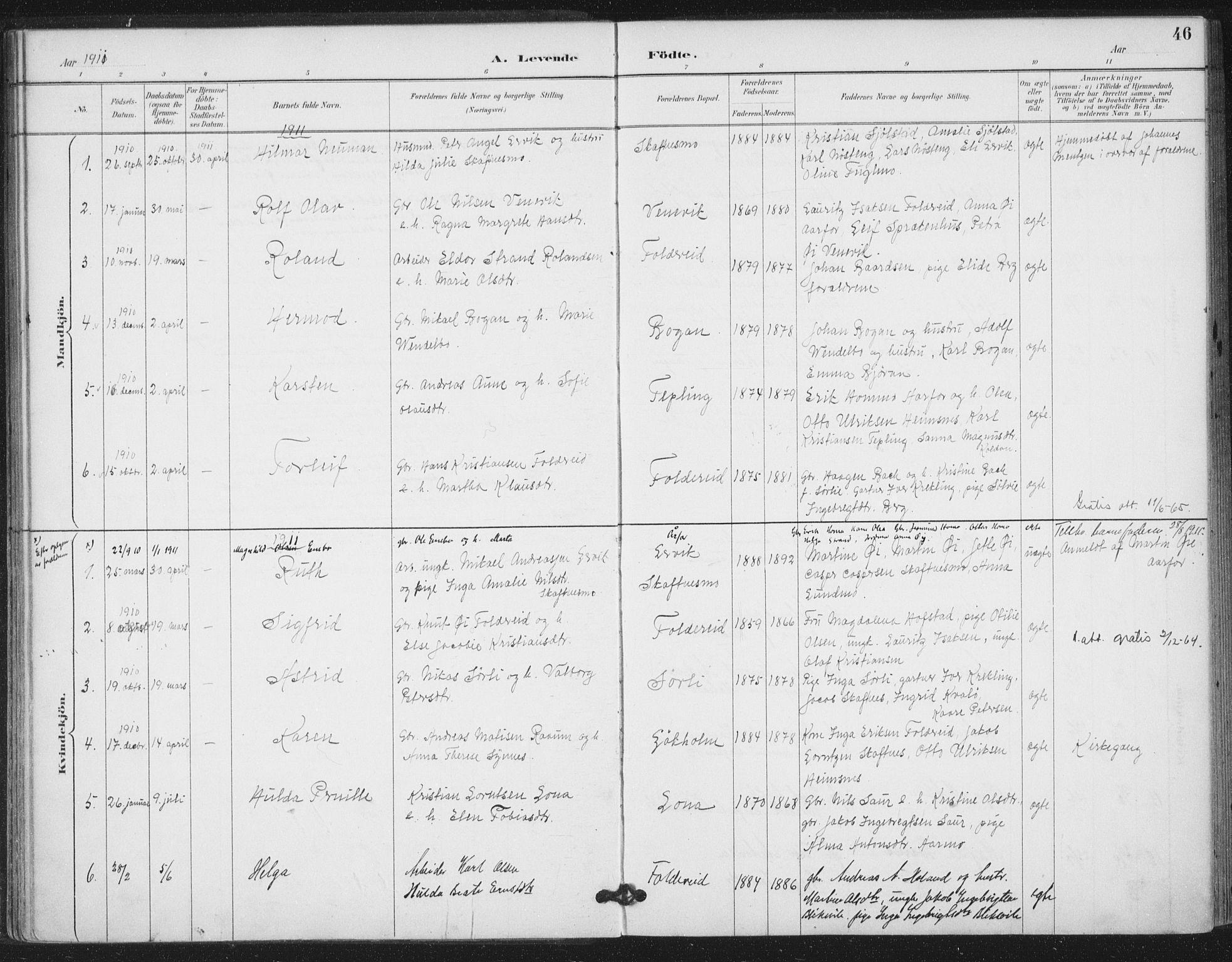 SAT, Ministerialprotokoller, klokkerbøker og fødselsregistre - Nord-Trøndelag, 783/L0660: Ministerialbok nr. 783A02, 1886-1918, s. 46
