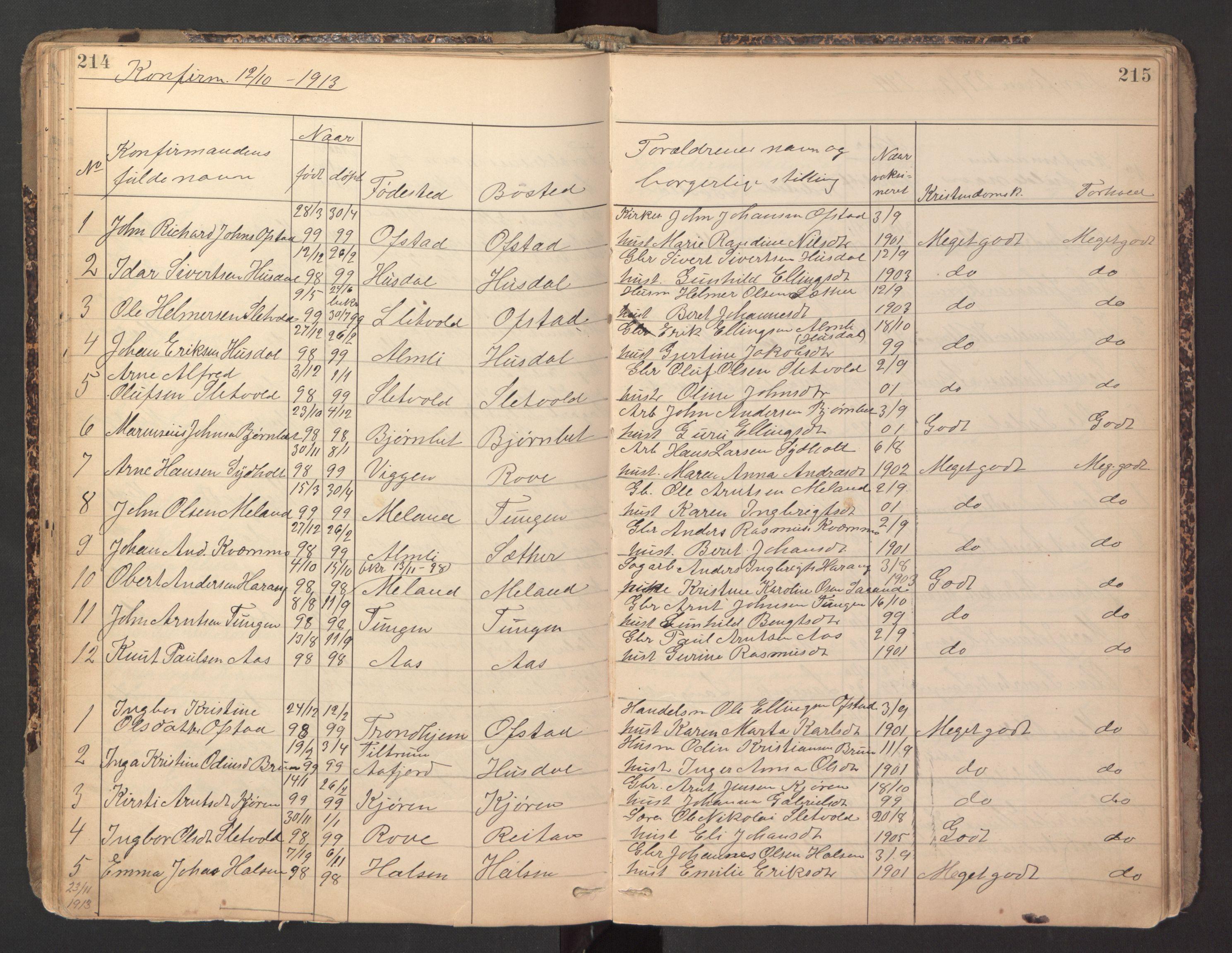 SAT, Ministerialprotokoller, klokkerbøker og fødselsregistre - Sør-Trøndelag, 670/L0837: Klokkerbok nr. 670C01, 1905-1946, s. 214-215
