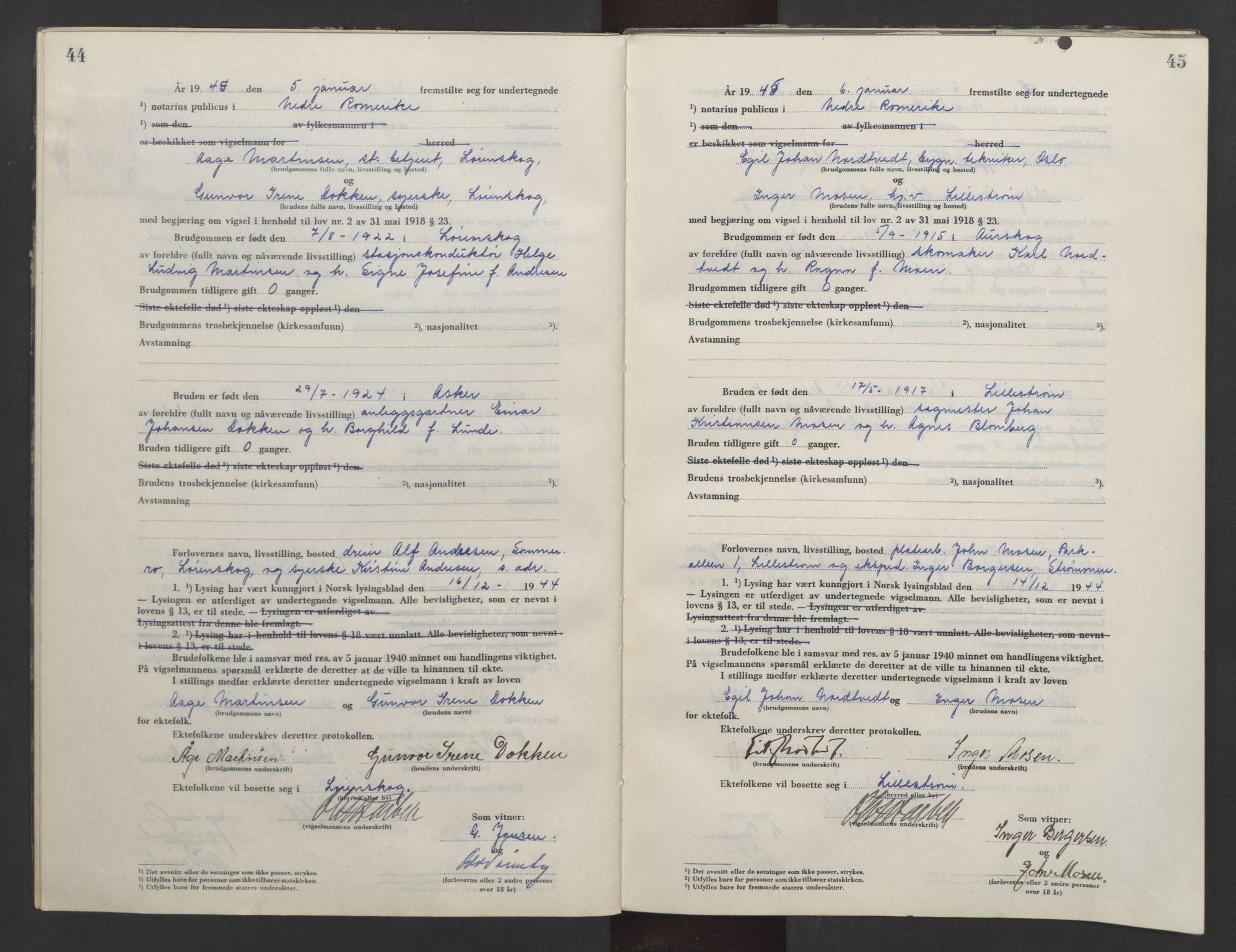 SAO, Nedre Romerike sorenskriveri, L/Lb/L0006: Vigselsbok - borgerlige vielser, 1944-1946, s. 44-45