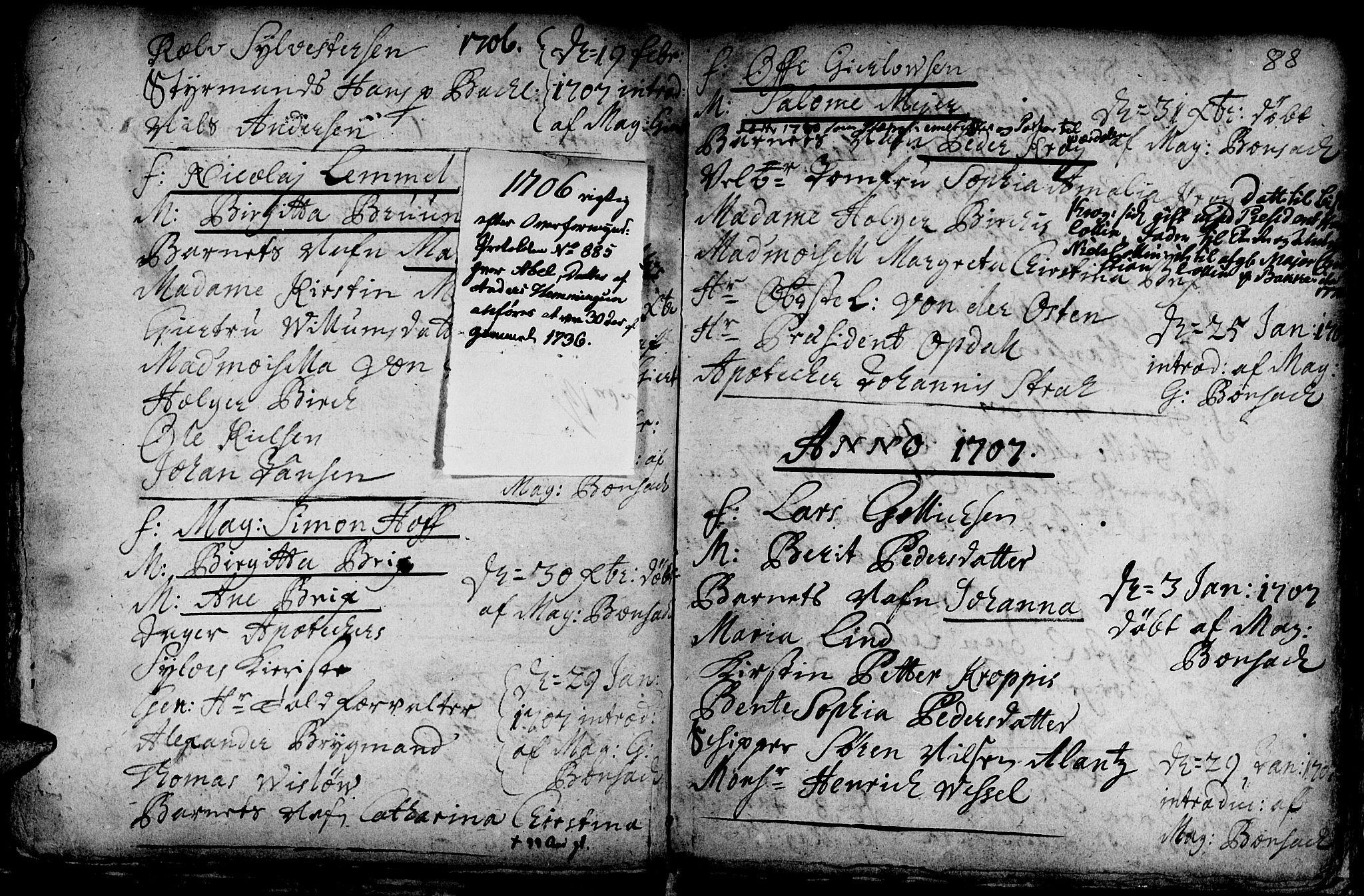 SAT, Ministerialprotokoller, klokkerbøker og fødselsregistre - Sør-Trøndelag, 601/L0034: Ministerialbok nr. 601A02, 1702-1714, s. 88