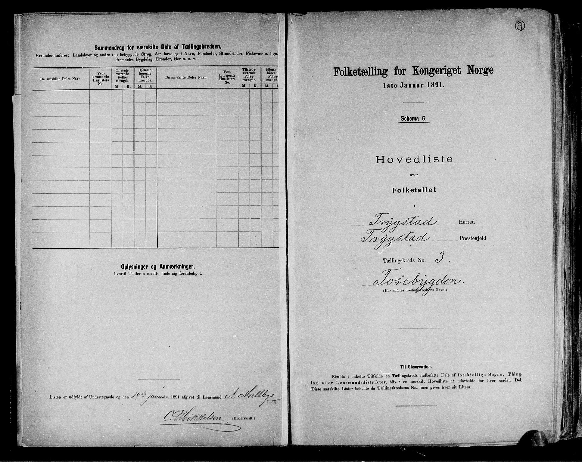 RA, Folketelling 1891 for 0122 Trøgstad herred, 1891, s. 9