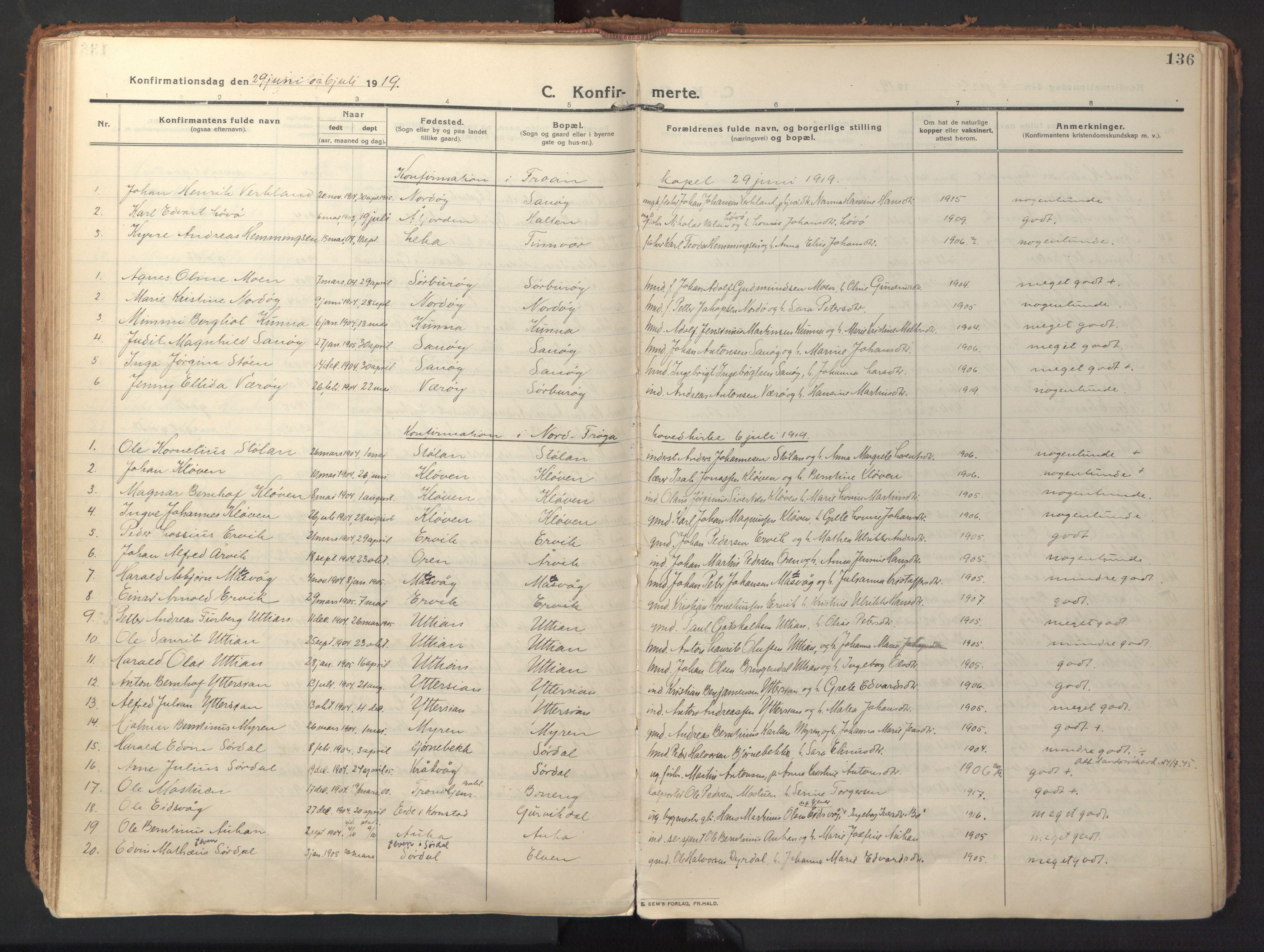 SAT, Ministerialprotokoller, klokkerbøker og fødselsregistre - Sør-Trøndelag, 640/L0581: Ministerialbok nr. 640A06, 1910-1924, s. 136