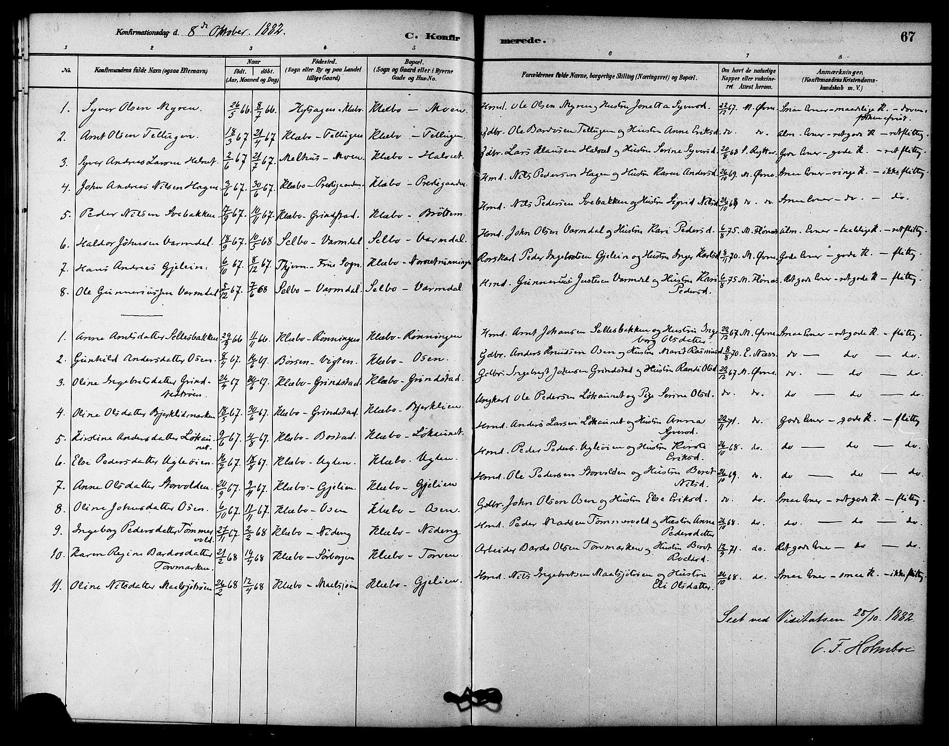 SAT, Ministerialprotokoller, klokkerbøker og fødselsregistre - Sør-Trøndelag, 618/L0444: Ministerialbok nr. 618A07, 1880-1898, s. 67