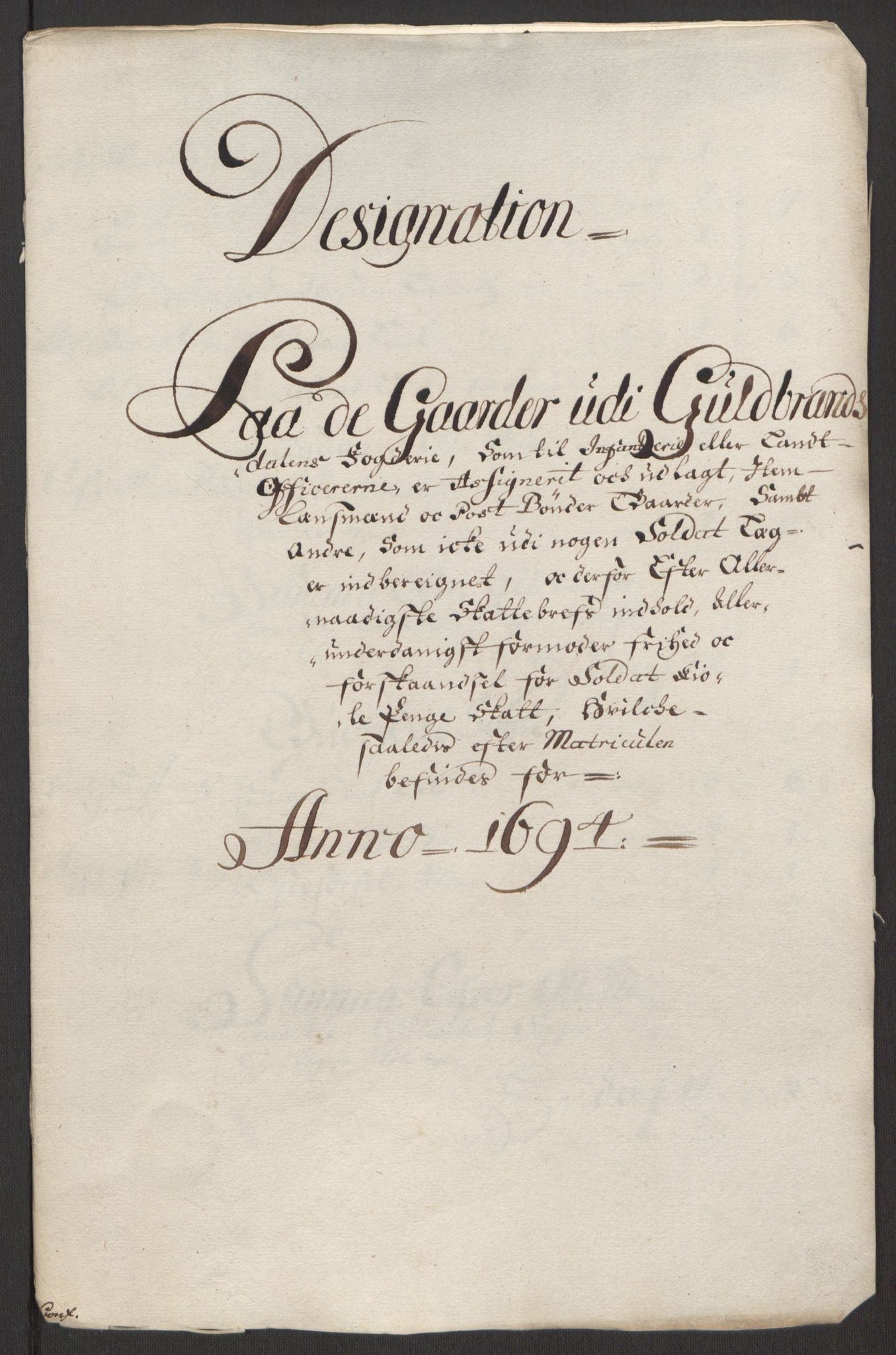 RA, Rentekammeret inntil 1814, Reviderte regnskaper, Fogderegnskap, R17/L1168: Fogderegnskap Gudbrandsdal, 1694, s. 334