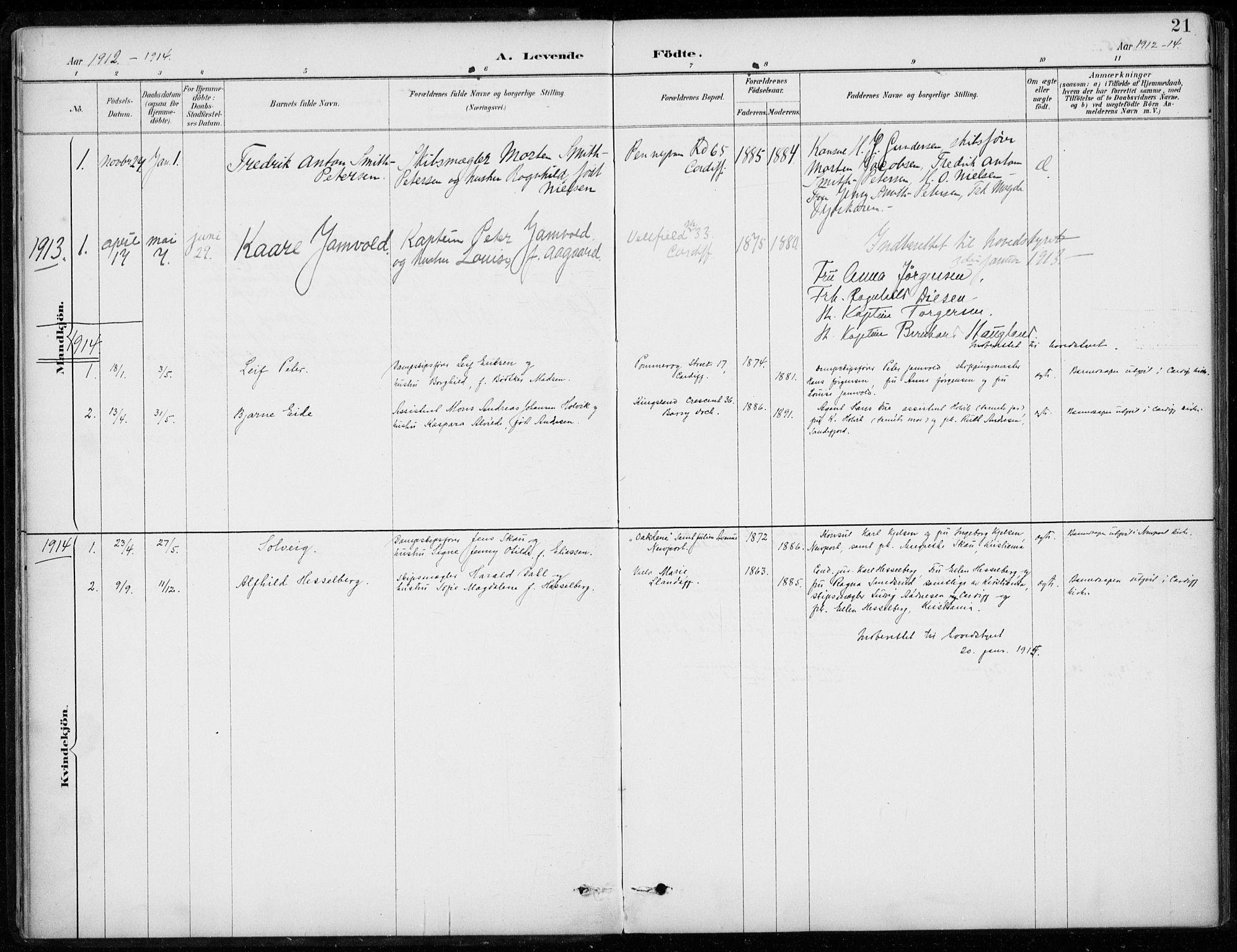 SAB, Den Norske Sjømannsmisjon i utlandet*, Ministerialbok nr. A 2, 1887-1932, s. 21