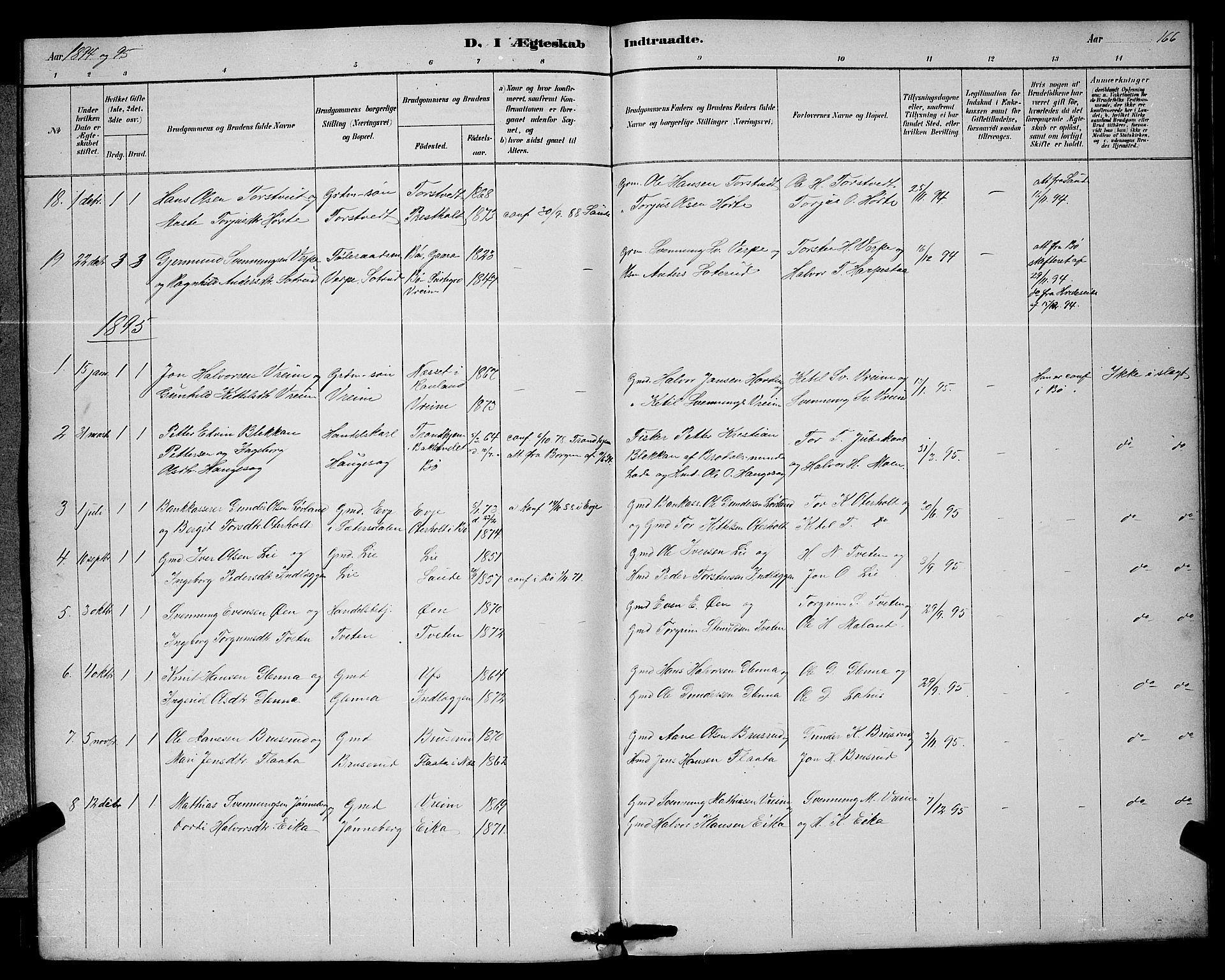 SAKO, Bø kirkebøker, G/Ga/L0005: Klokkerbok nr. 5, 1883-1897, s. 166