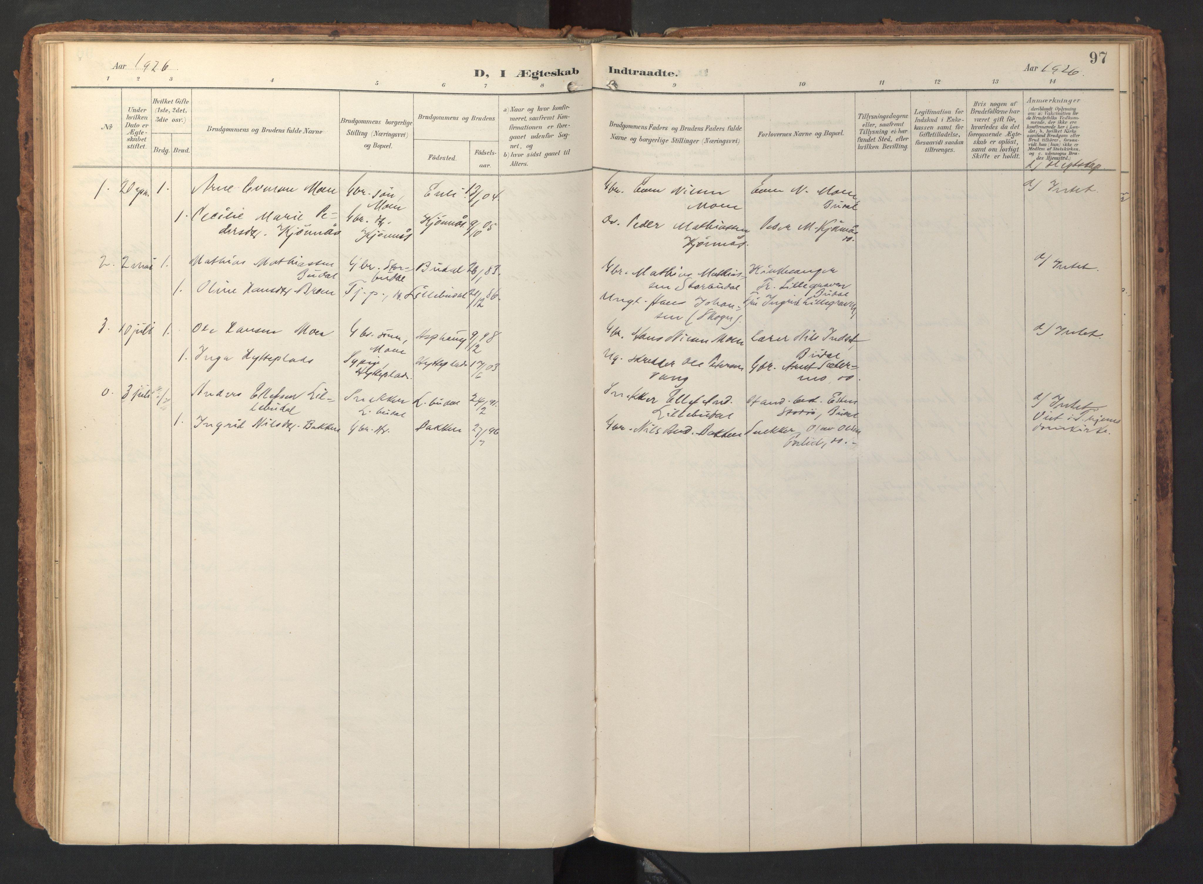 SAT, Ministerialprotokoller, klokkerbøker og fødselsregistre - Sør-Trøndelag, 690/L1050: Ministerialbok nr. 690A01, 1889-1929, s. 97