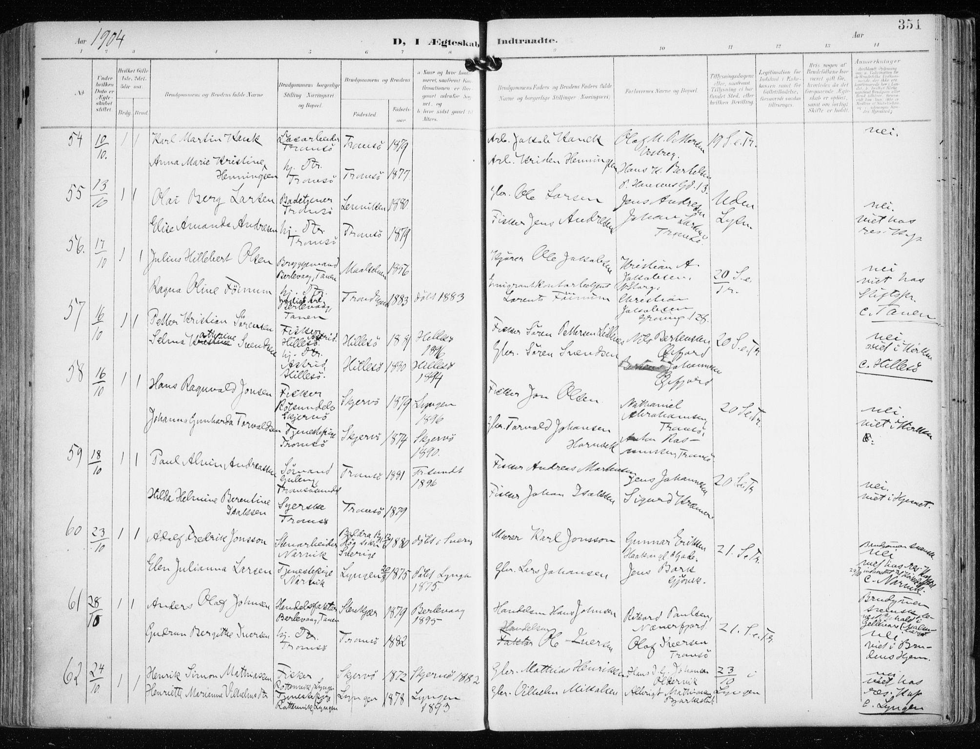 SATØ, Tromsø sokneprestkontor/stiftsprosti/domprosti, G/Ga/L0016kirke: Ministerialbok nr. 16, 1899-1906, s. 351
