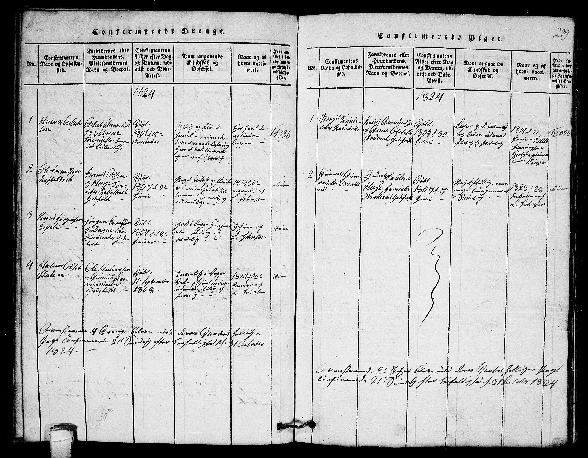 SAKO, Lårdal kirkebøker, G/Gb/L0001: Klokkerbok nr. II 1, 1815-1865, s. 239