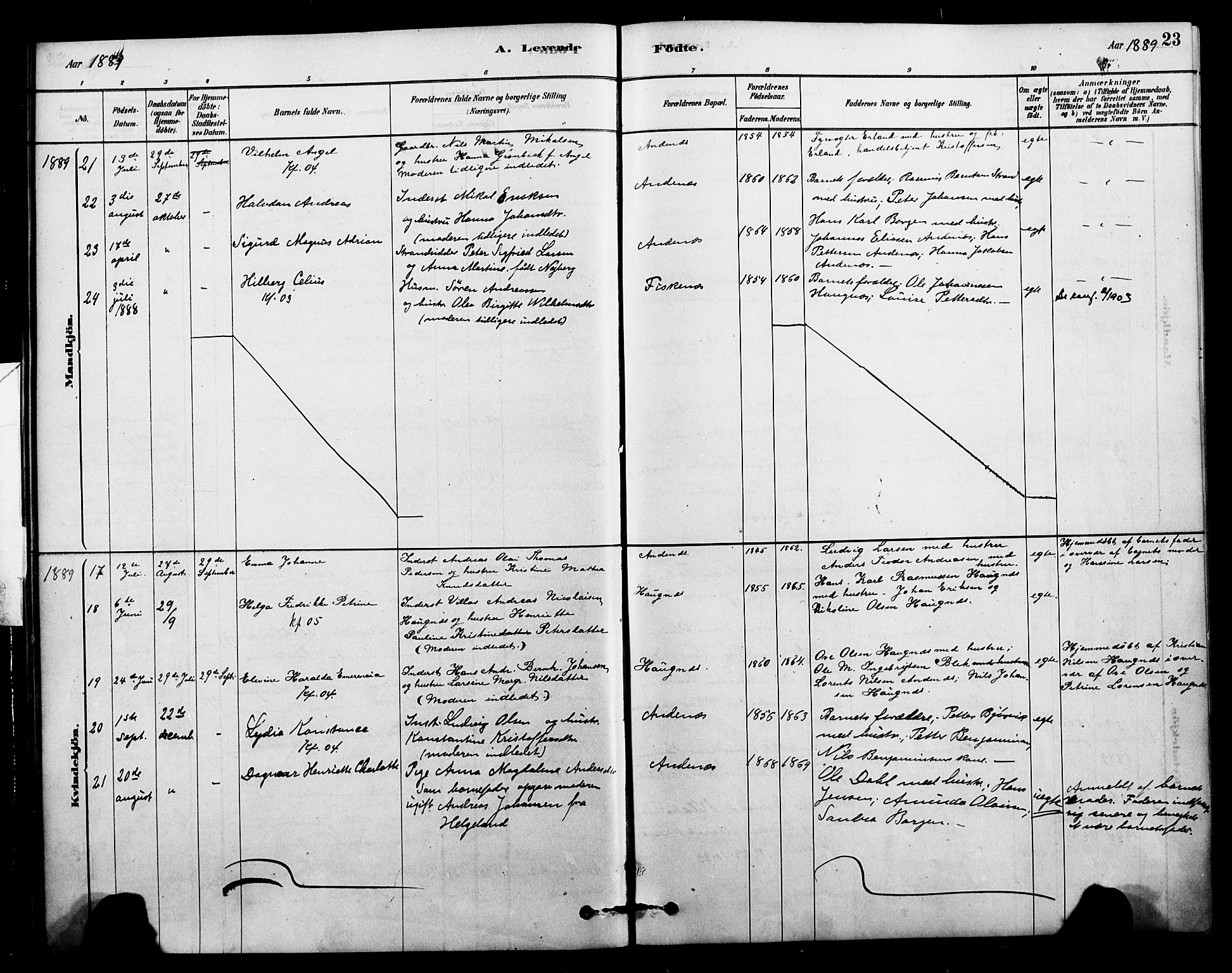 SAT, Ministerialprotokoller, klokkerbøker og fødselsregistre - Nordland, 899/L1436: Ministerialbok nr. 899A04, 1881-1896, s. 23