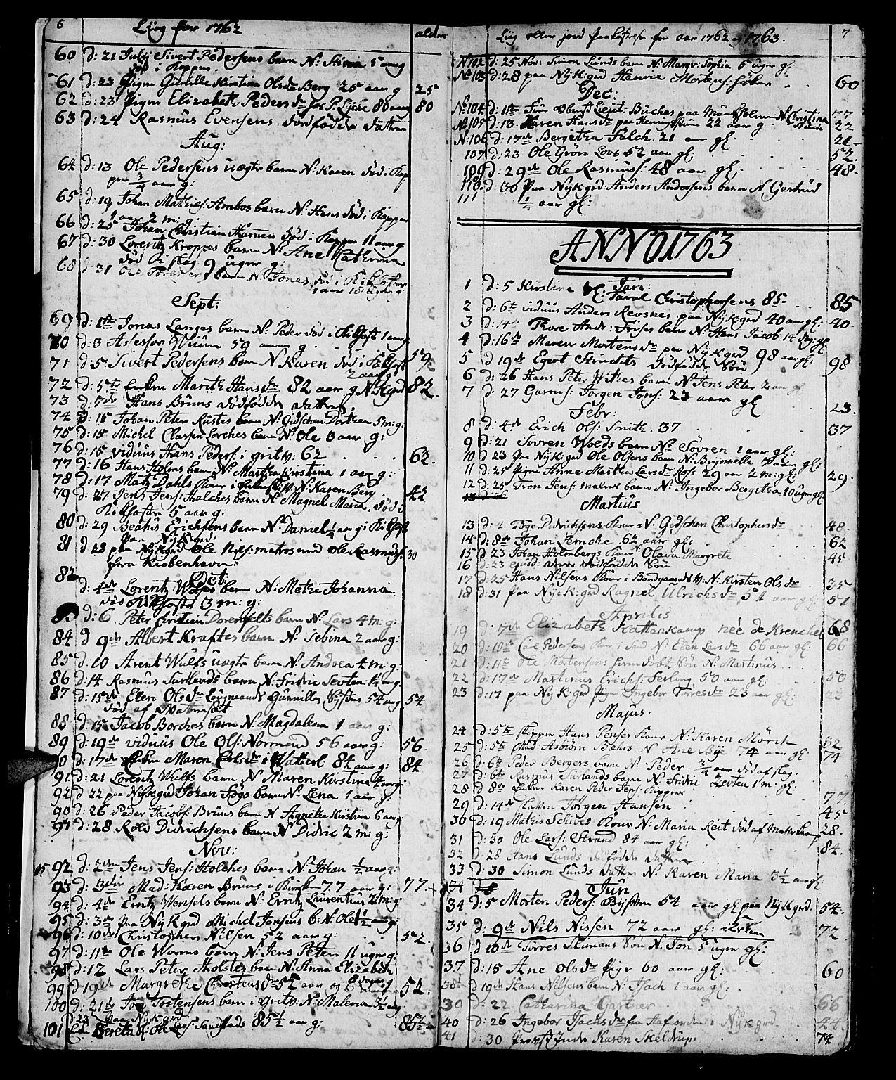 SAT, Ministerialprotokoller, klokkerbøker og fødselsregistre - Sør-Trøndelag, 602/L0134: Klokkerbok nr. 602C02, 1759-1812, s. 6-7