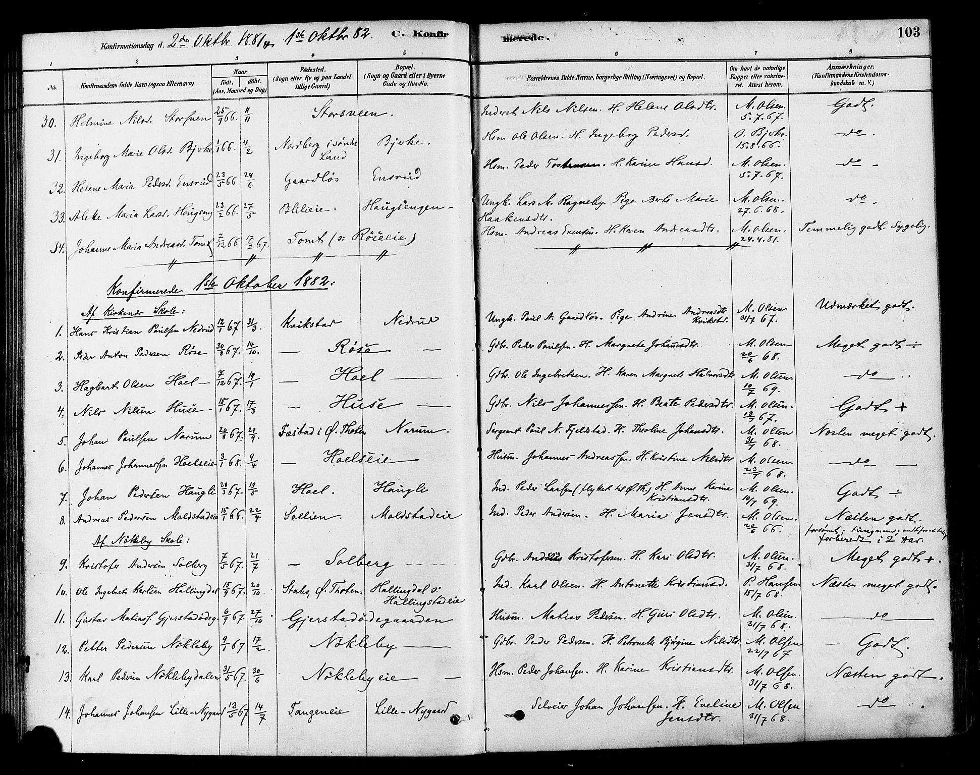 SAH, Vestre Toten prestekontor, H/Ha/Haa/L0010: Ministerialbok nr. 10, 1878-1894, s. 103