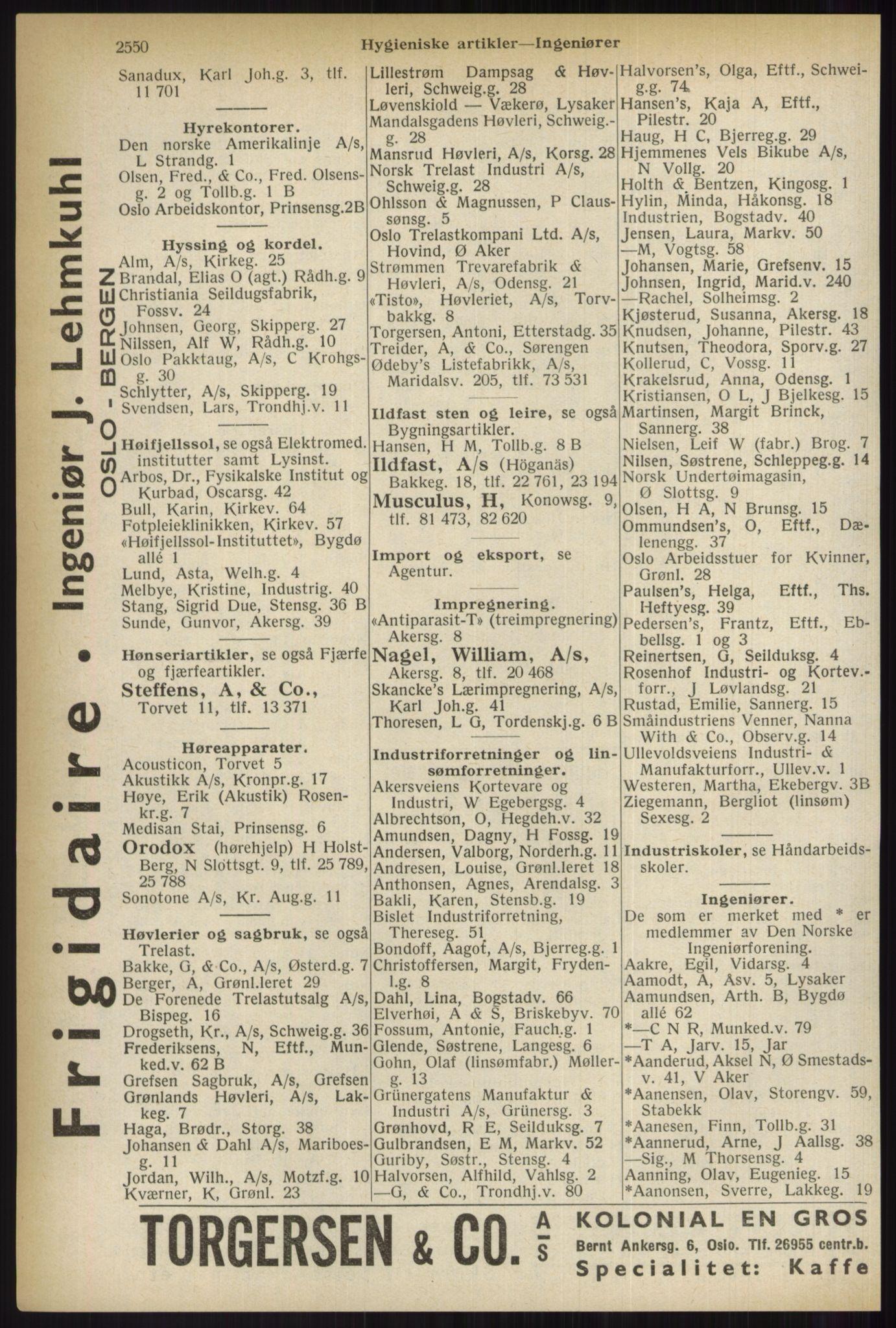RA, Oslo adressebok (publikasjon)*, 1937, s. 2550
