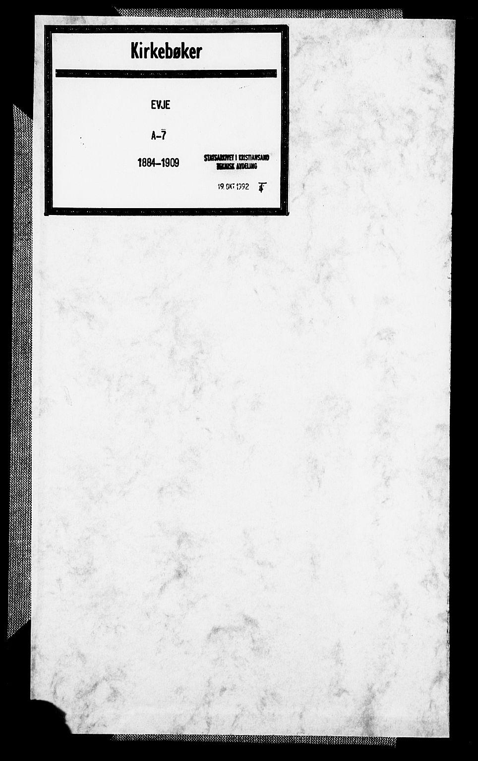 SAK, Evje sokneprestkontor, F/Fa/Faa/L0007: Ministerialbok nr. A 7, 1884-1909