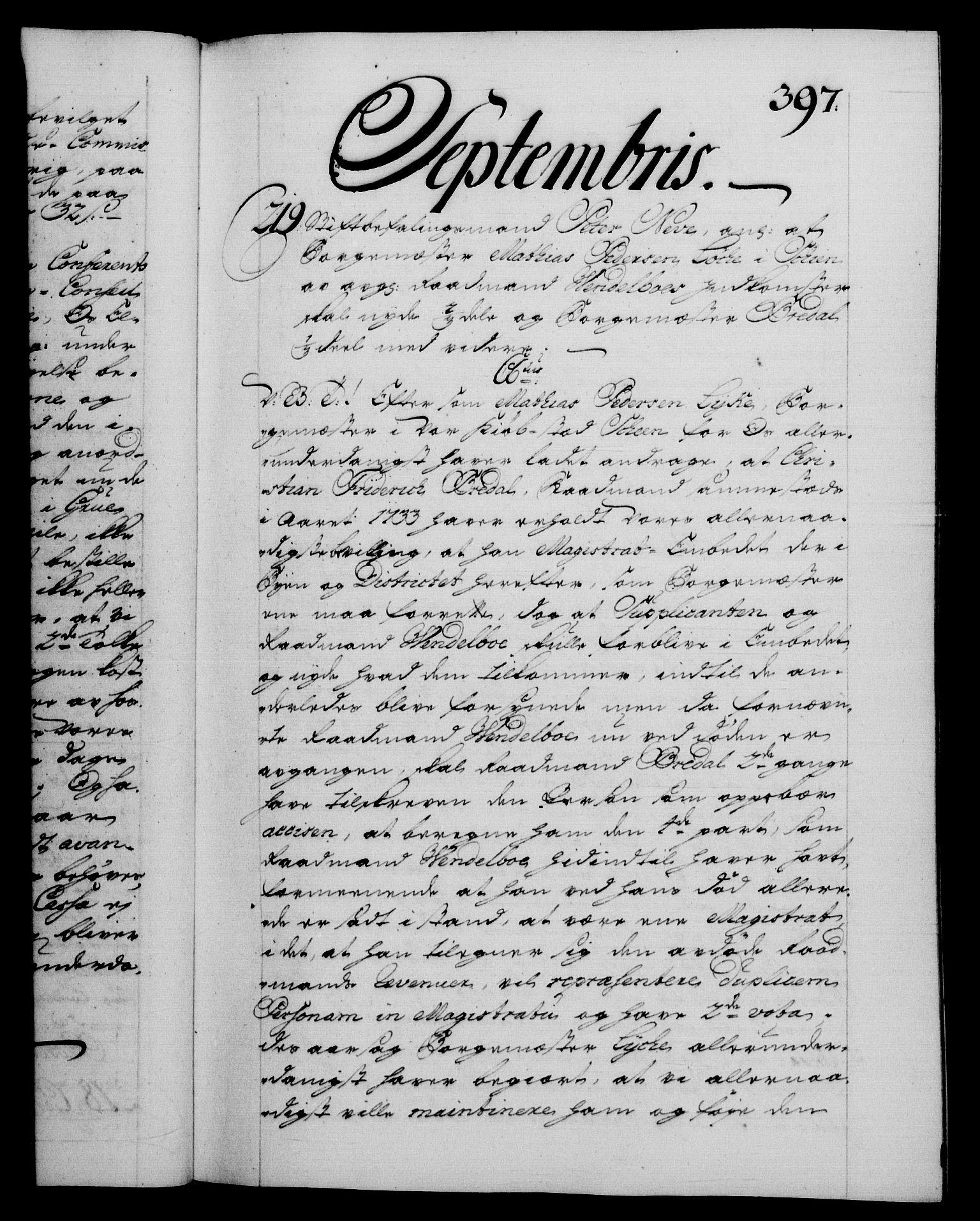 RA, Danske Kanselli 1572-1799, F/Fc/Fca/Fcab/L0028: Norske tegnelser, 1738-1740, s. 397a
