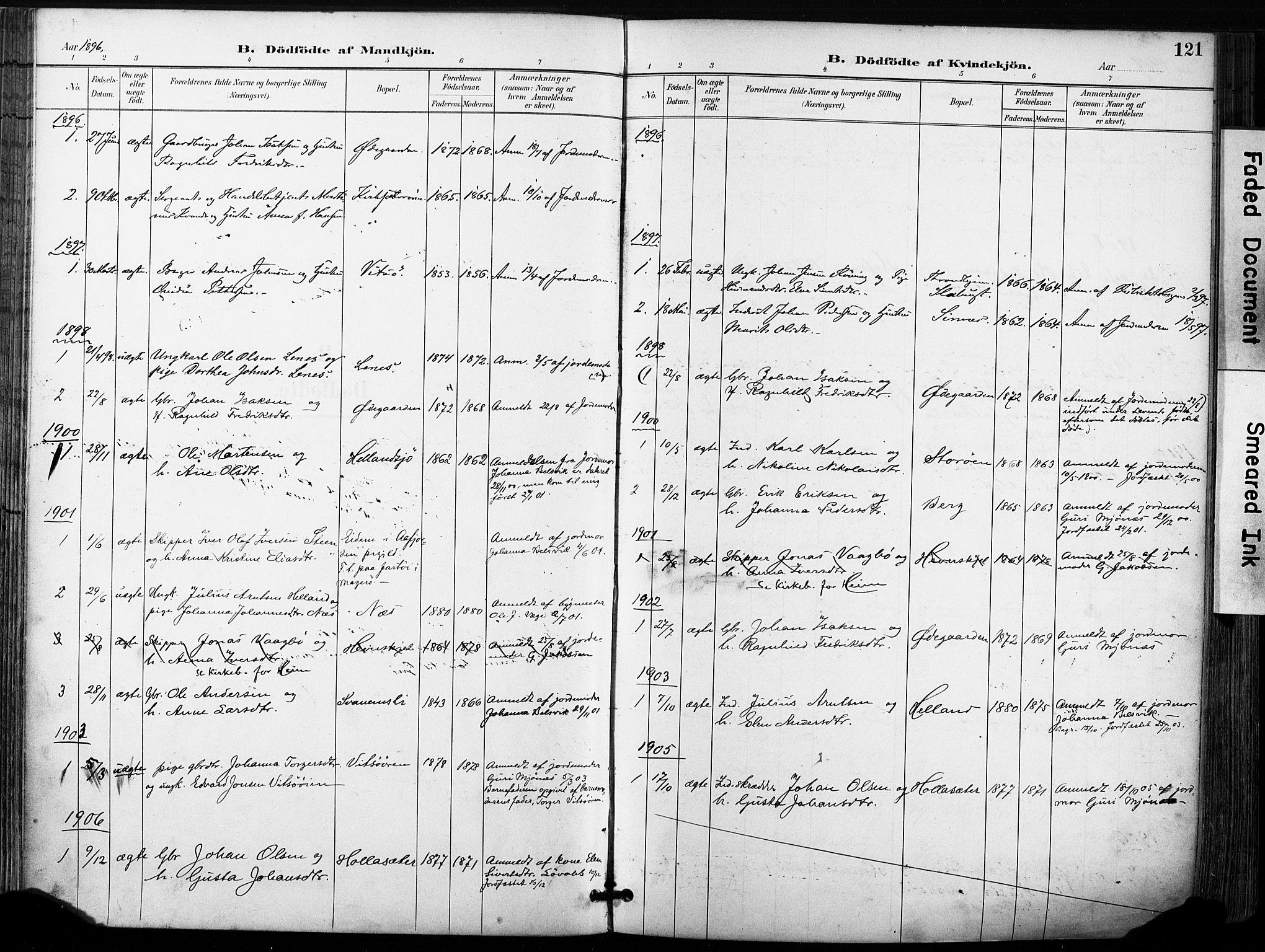 SAT, Ministerialprotokoller, klokkerbøker og fødselsregistre - Sør-Trøndelag, 630/L0497: Ministerialbok nr. 630A10, 1896-1910, s. 121