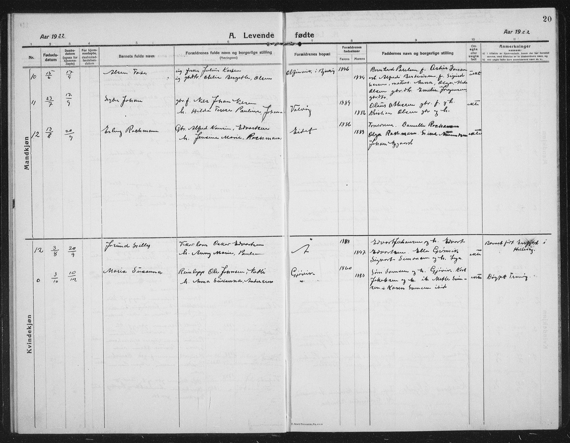 SATØ, Tranøy sokneprestkontor, I/Ia/Iab/L0019klokker: Klokkerbok nr. 19, 1914-1940, s. 20