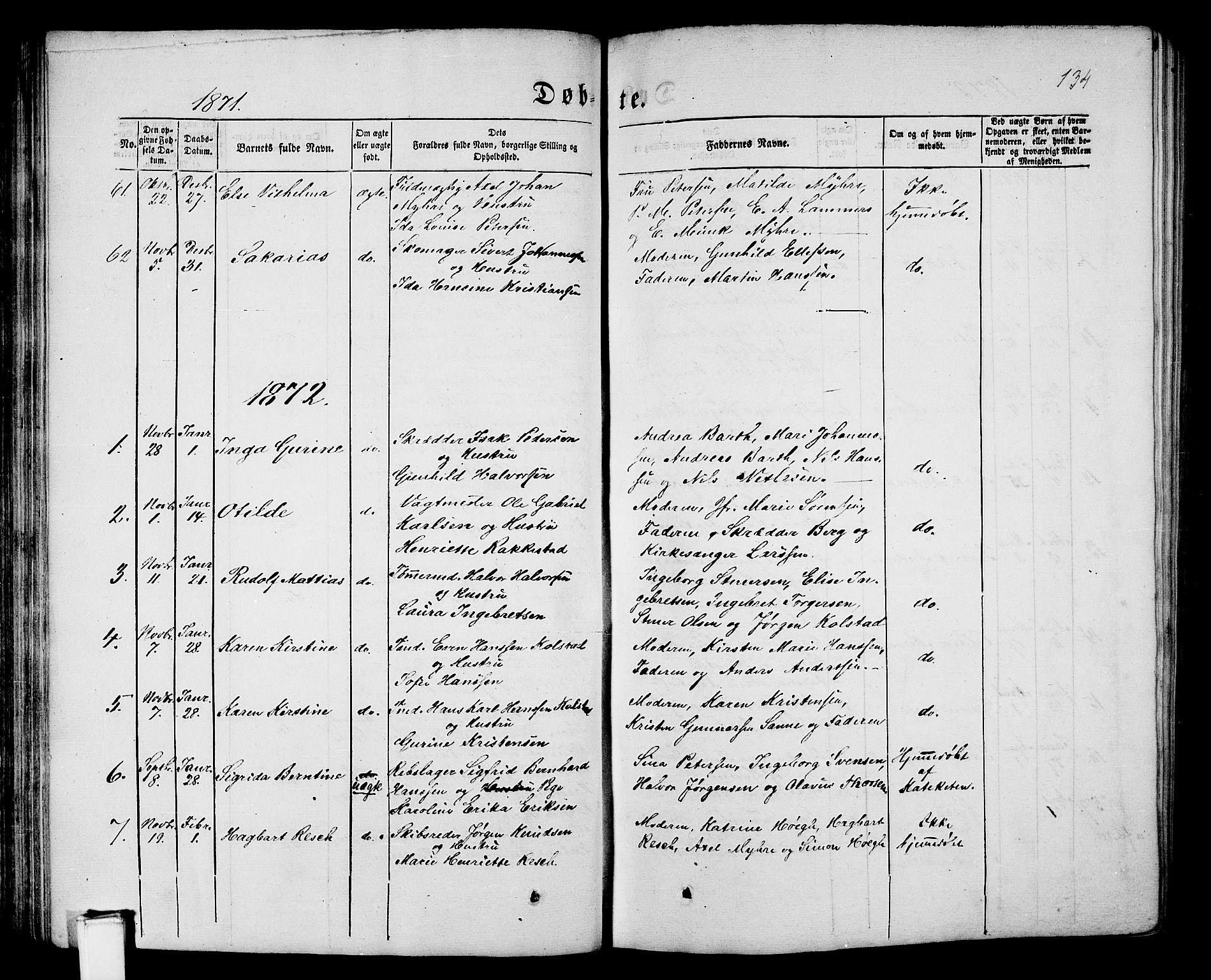 SAKO, Porsgrunn kirkebøker , G/Gb/L0004: Klokkerbok nr. II 4, 1853-1882, s. 134