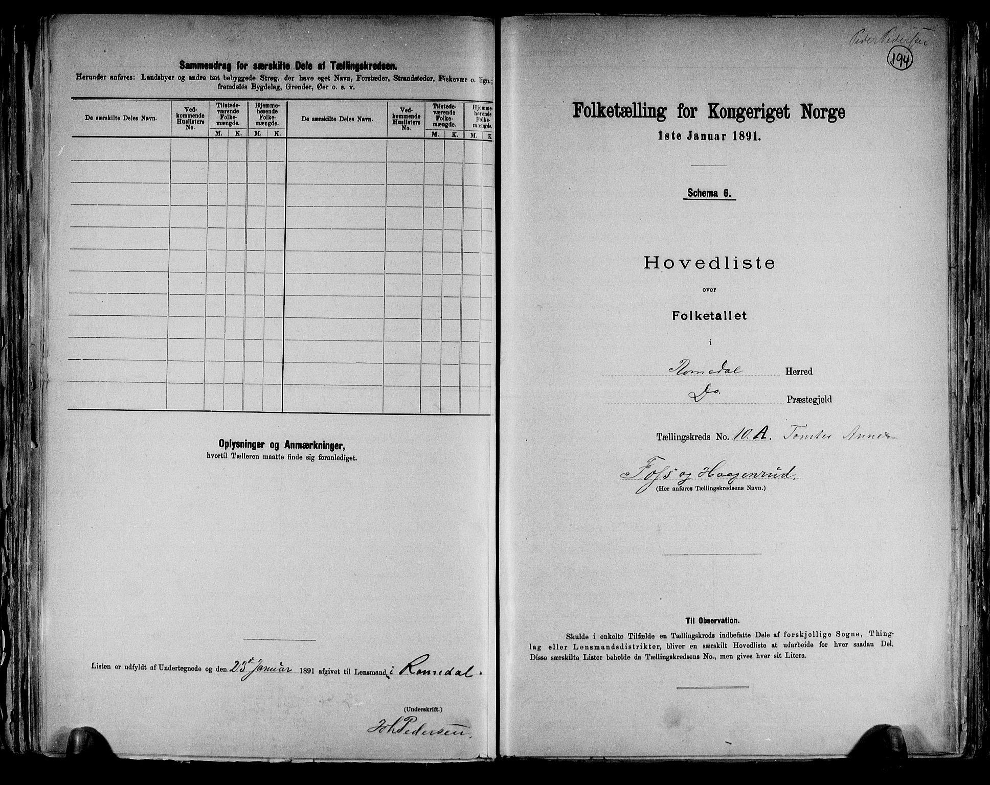 RA, Folketelling 1891 for 0416 Romedal herred, 1891, s. 23